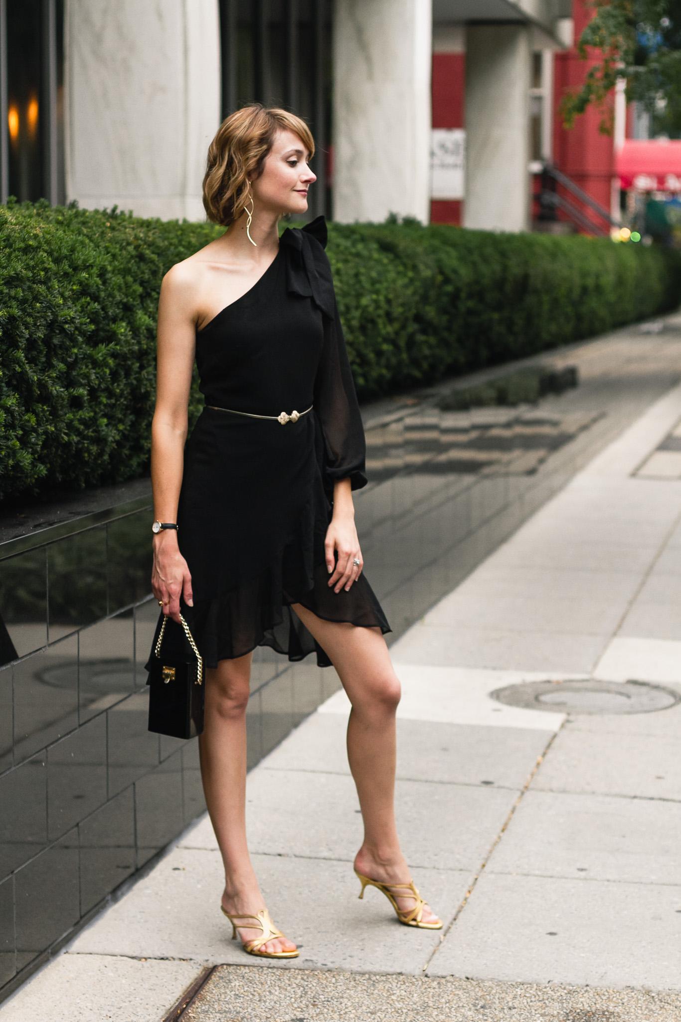 Mango asymmetrical dress and Alexander McQueen sandals
