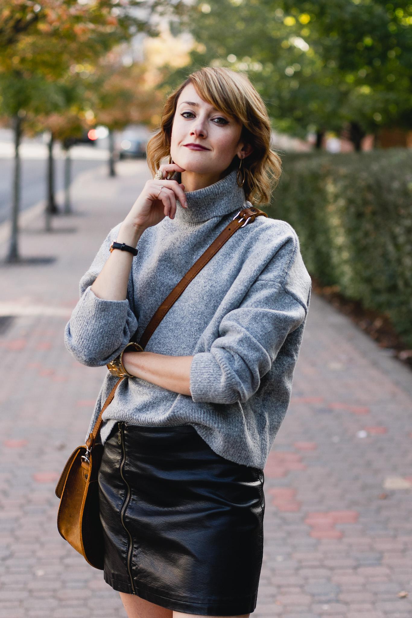 Genuine People sweater, leather skirt and Saddleback Leather bag