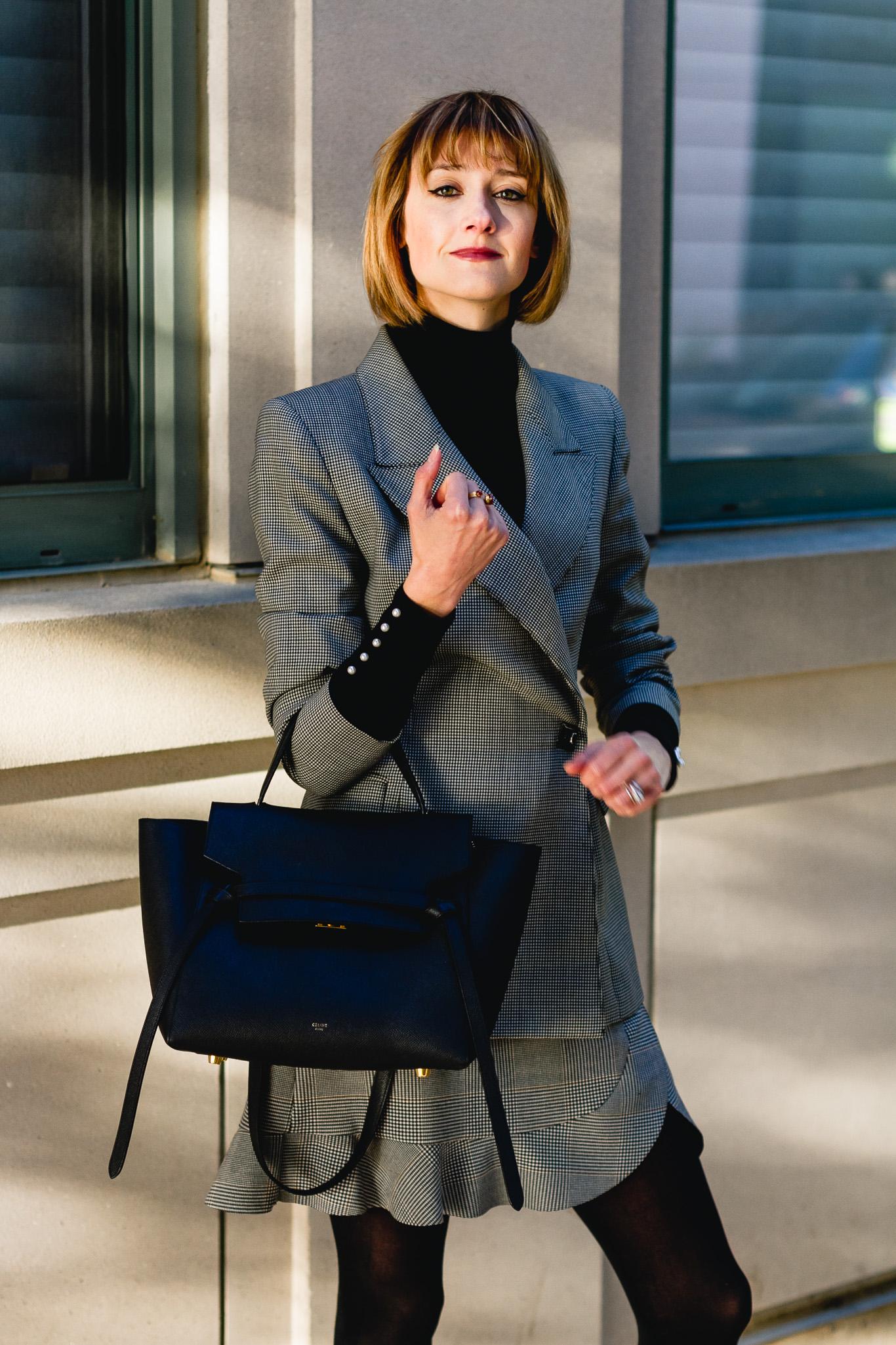 vintage blazer, Zara plaid skirt, and Celine bag