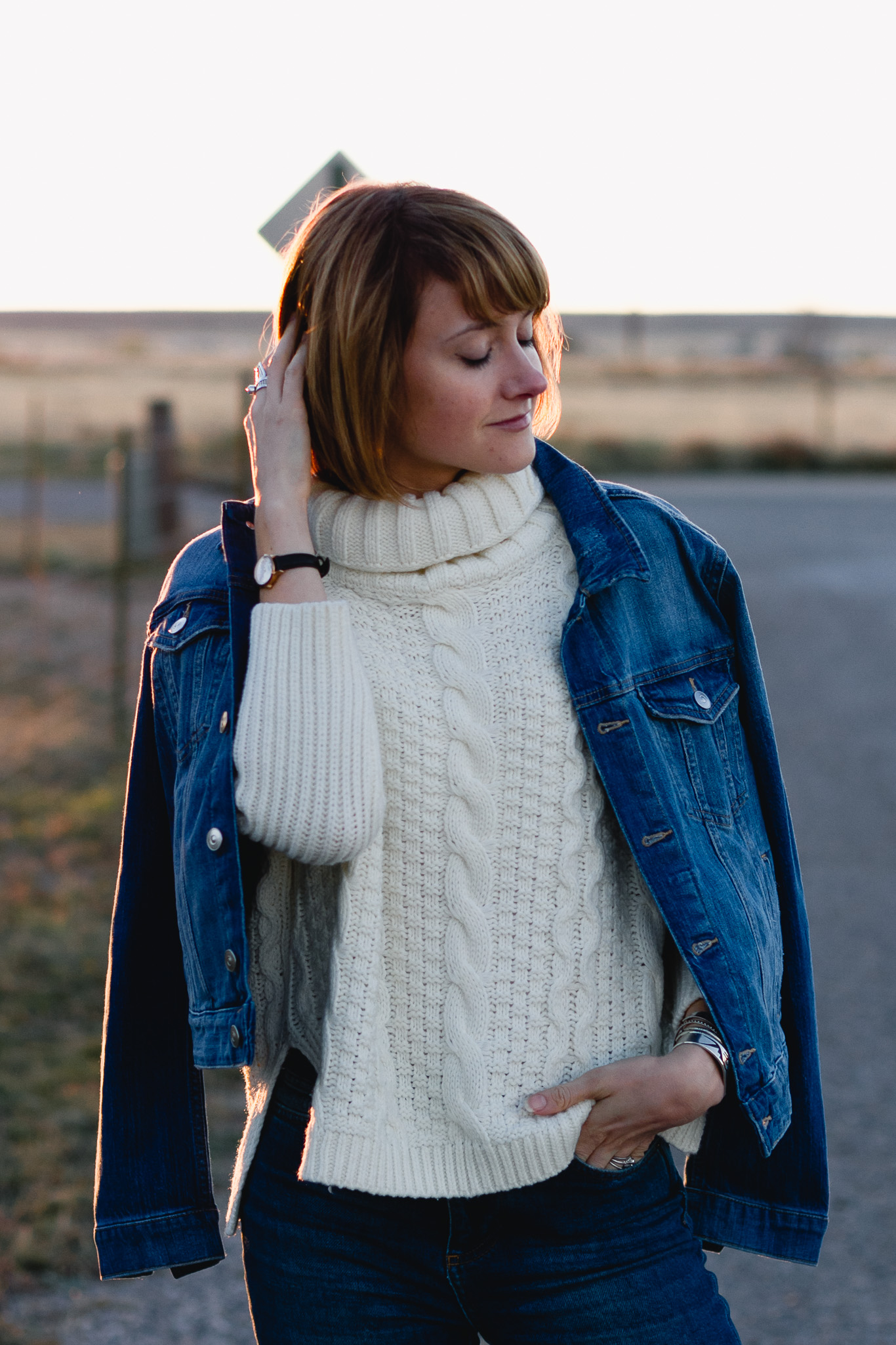 H&M denim jacket and cableknit sweater