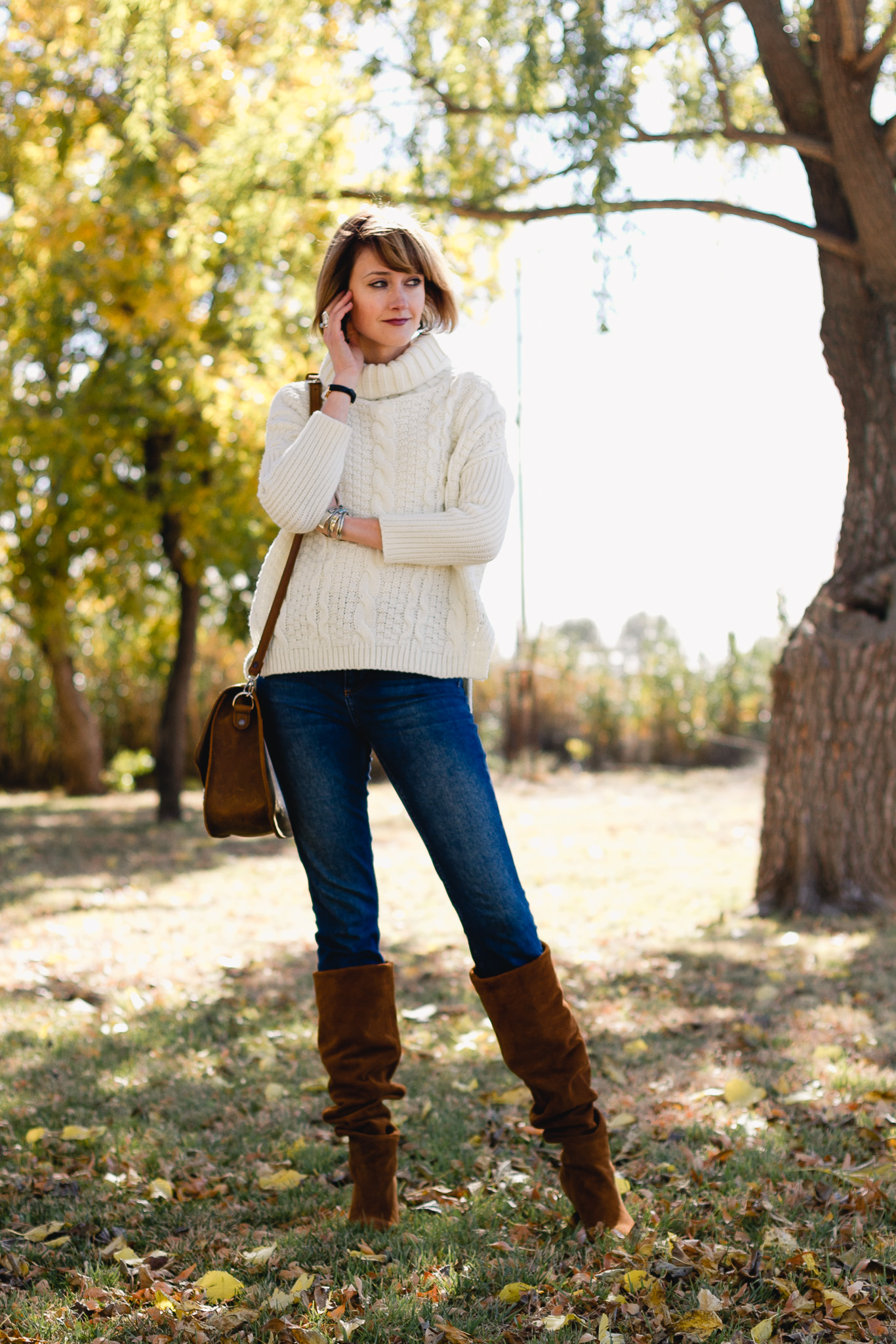 cropped cableknit, Topshop jeans, Jeffrey Campbell slouchy boots