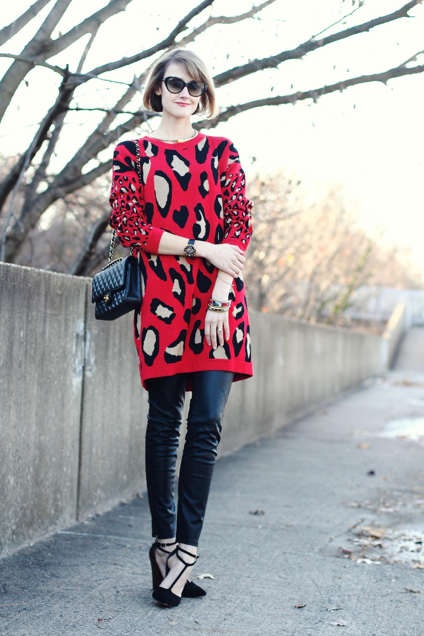 leopard print DKNY sweater dress