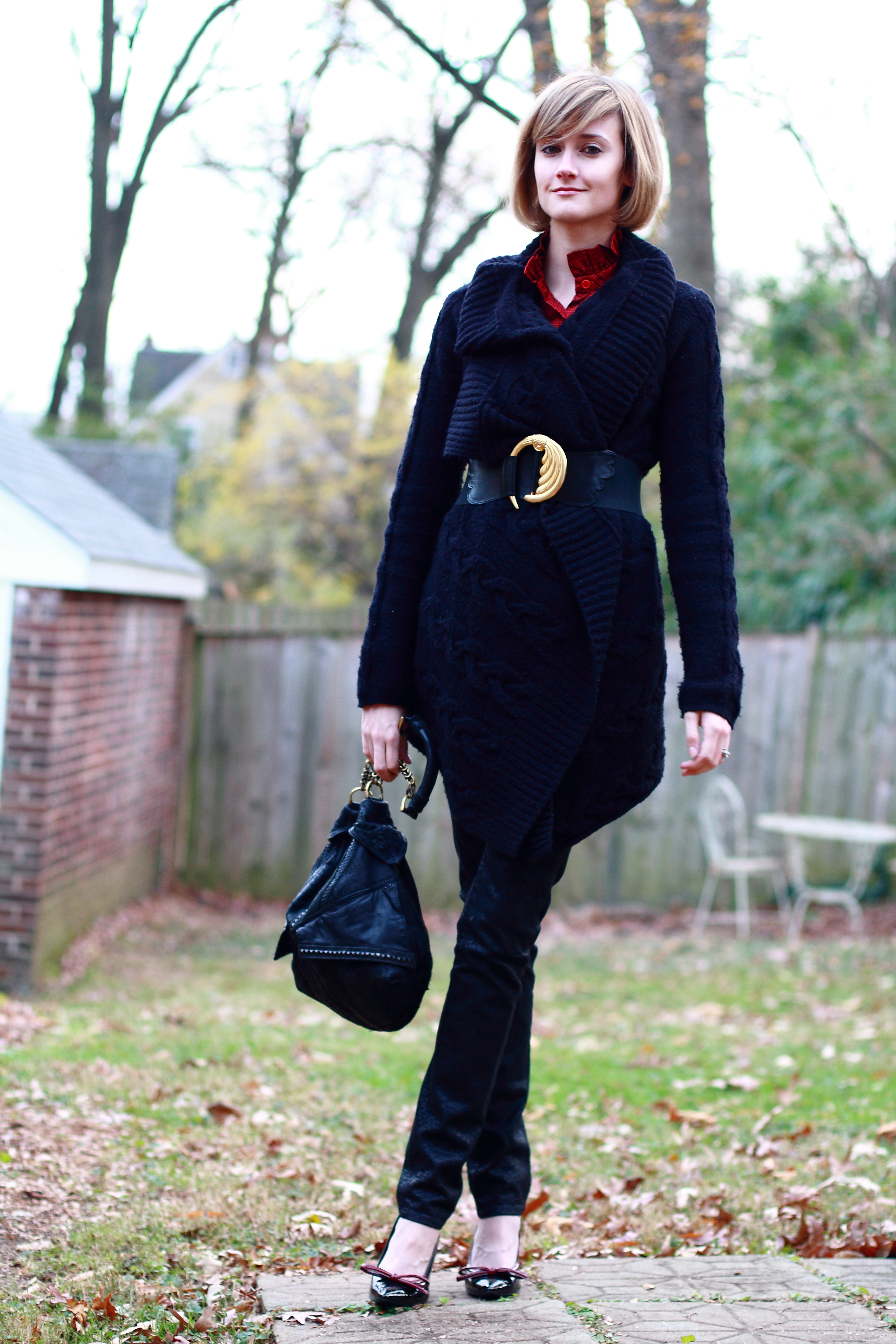 belted oversized sweater holiday look