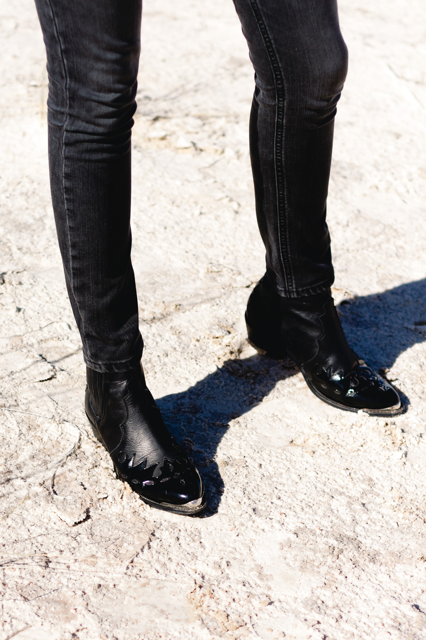 DL1961 denim and Topshop western boots