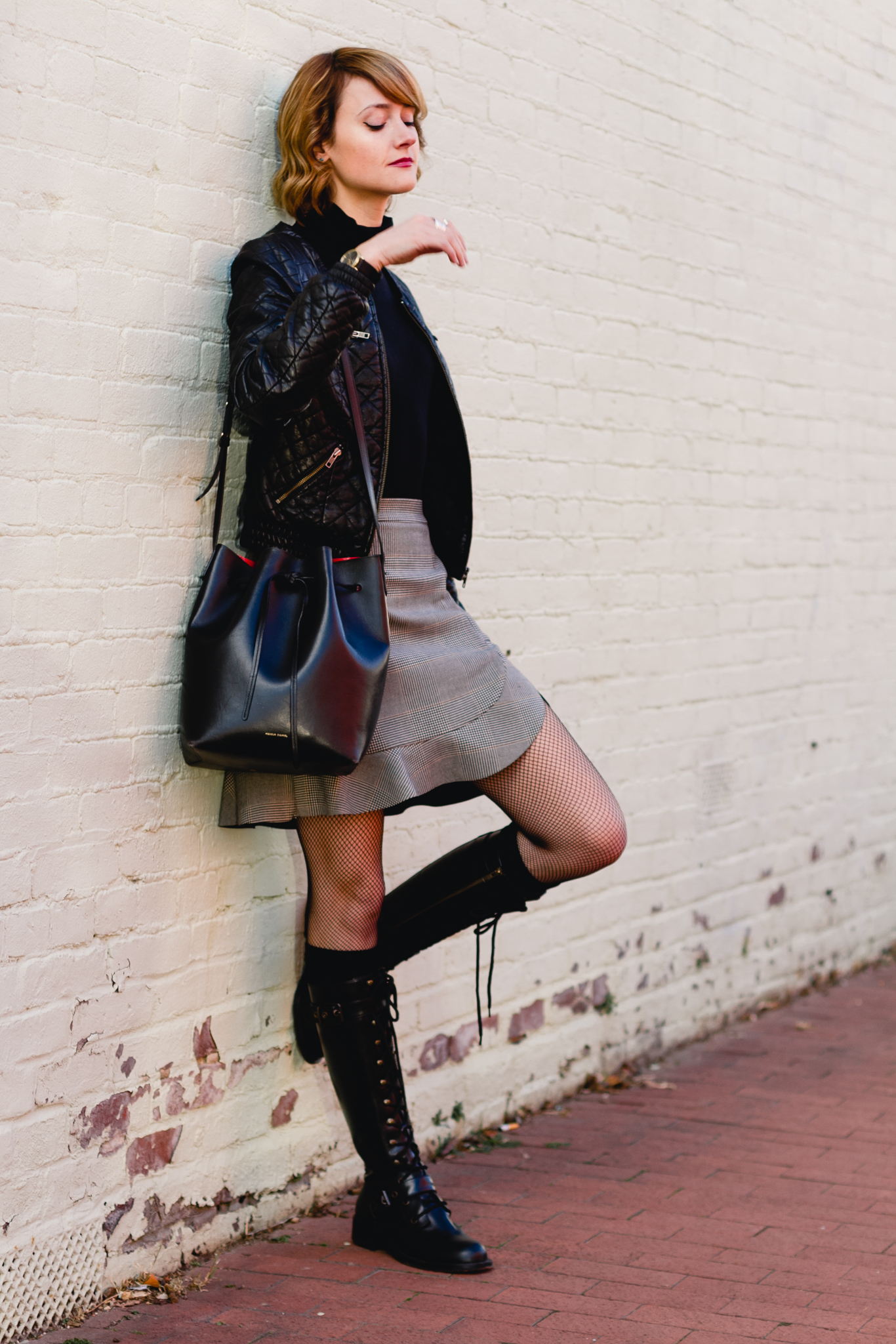 Zara plaid skirt and DKNY combat boots