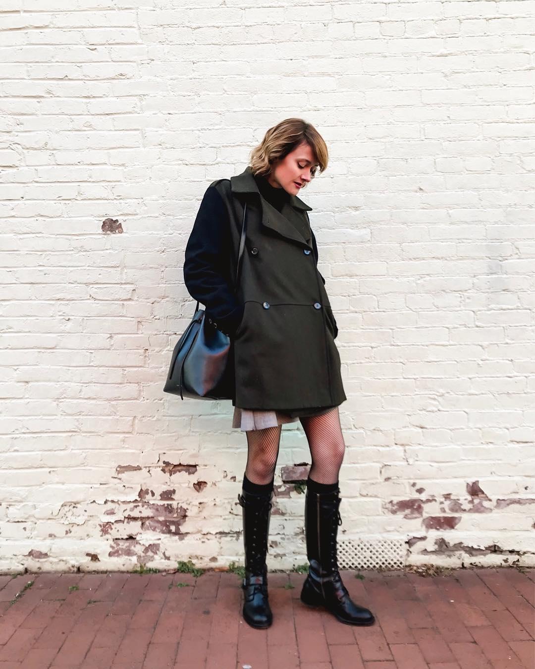 Mango coat and DKNY combat boots