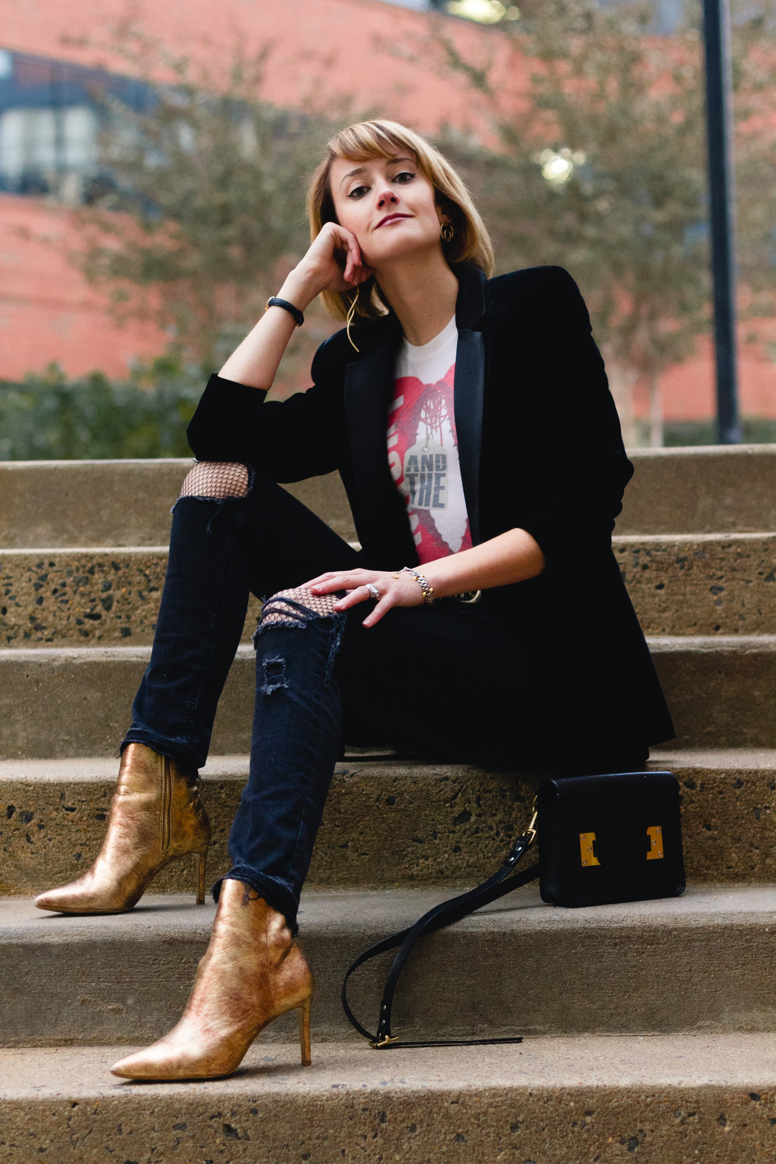 Mango velvet blazer, ripped jeans, and gold boots