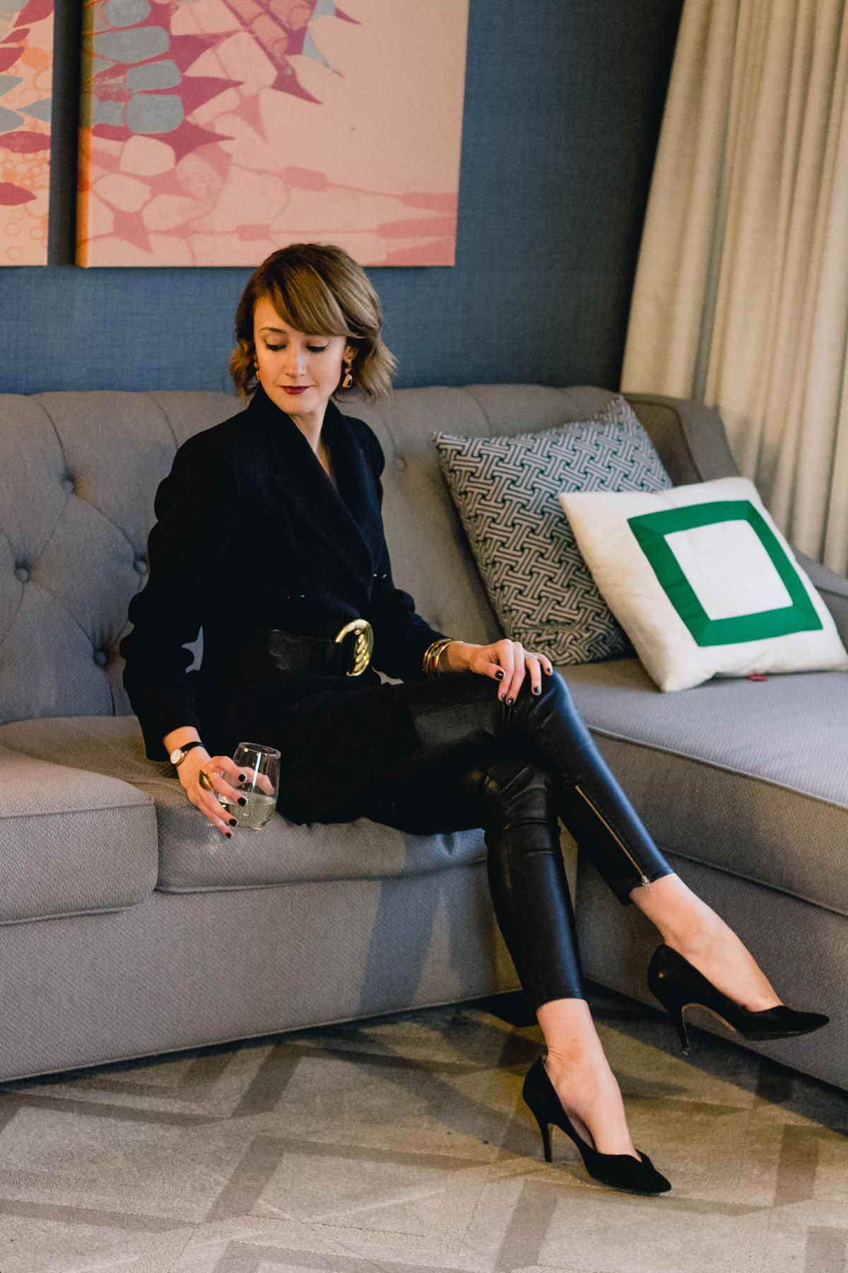 Zara oversized blazer and leather leggings