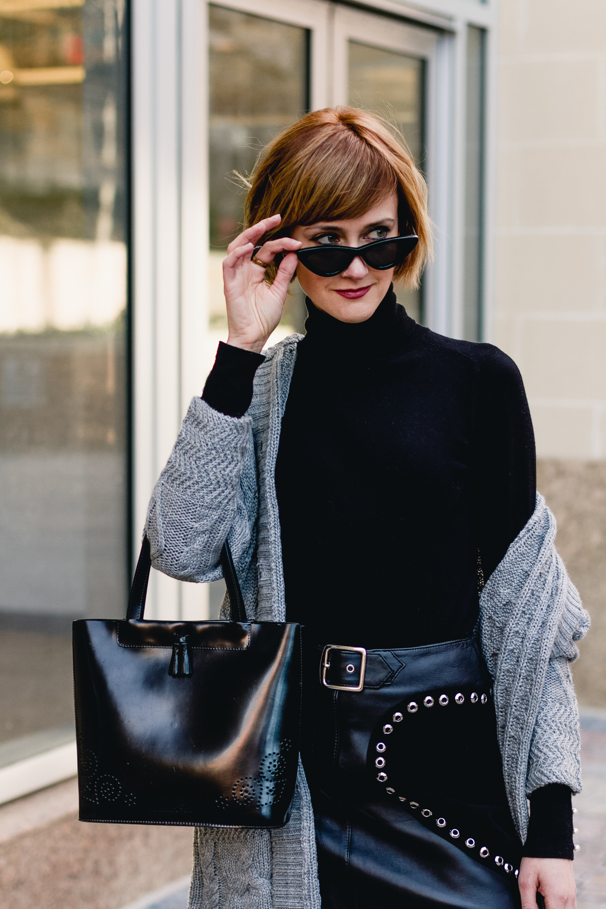 Le Specs sunglasses and Maje leather skirt