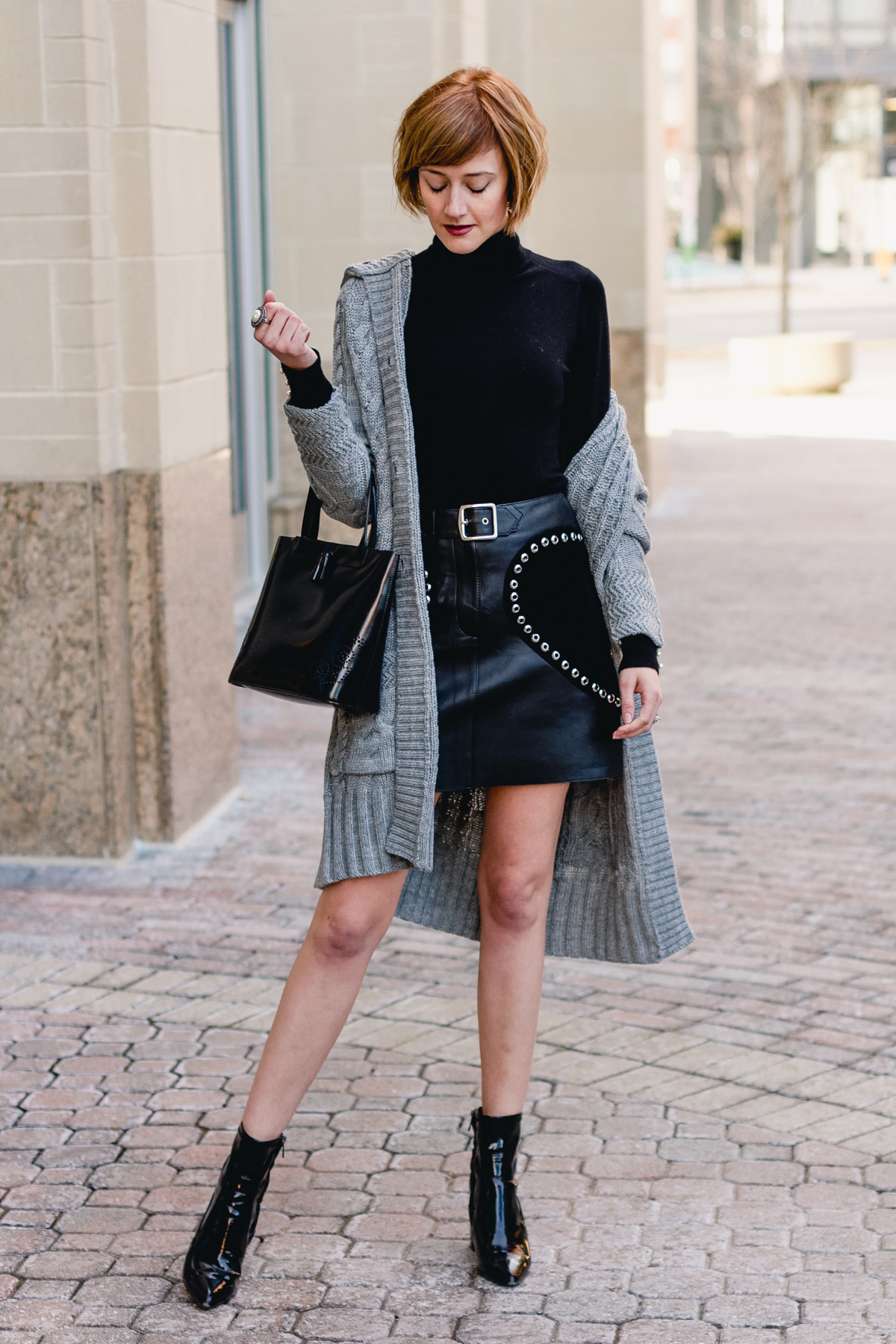 Woolovers cardigan and Maje leather skirt