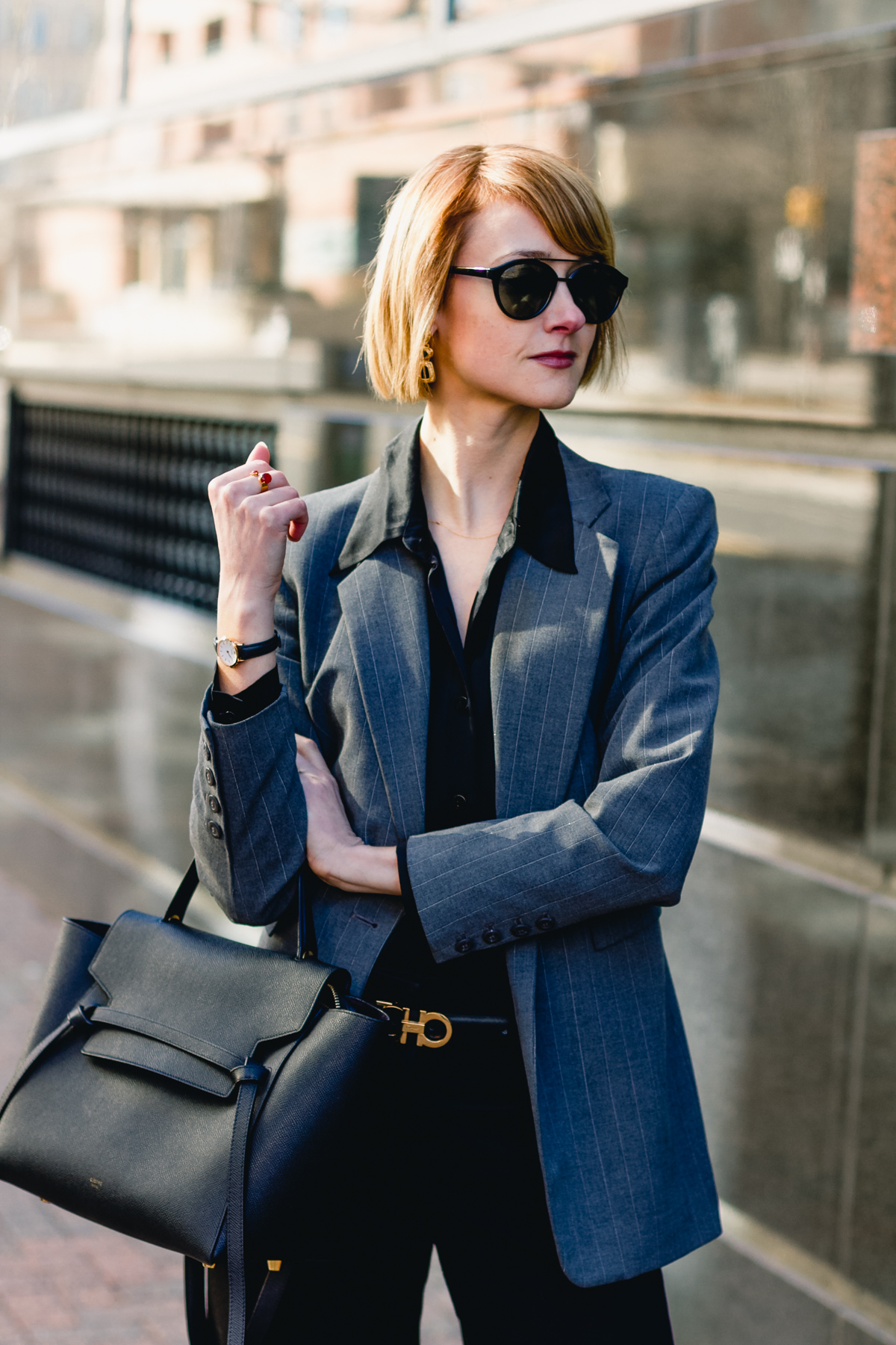 gray Express blazer, satin Equipment top, and Celine belt bag