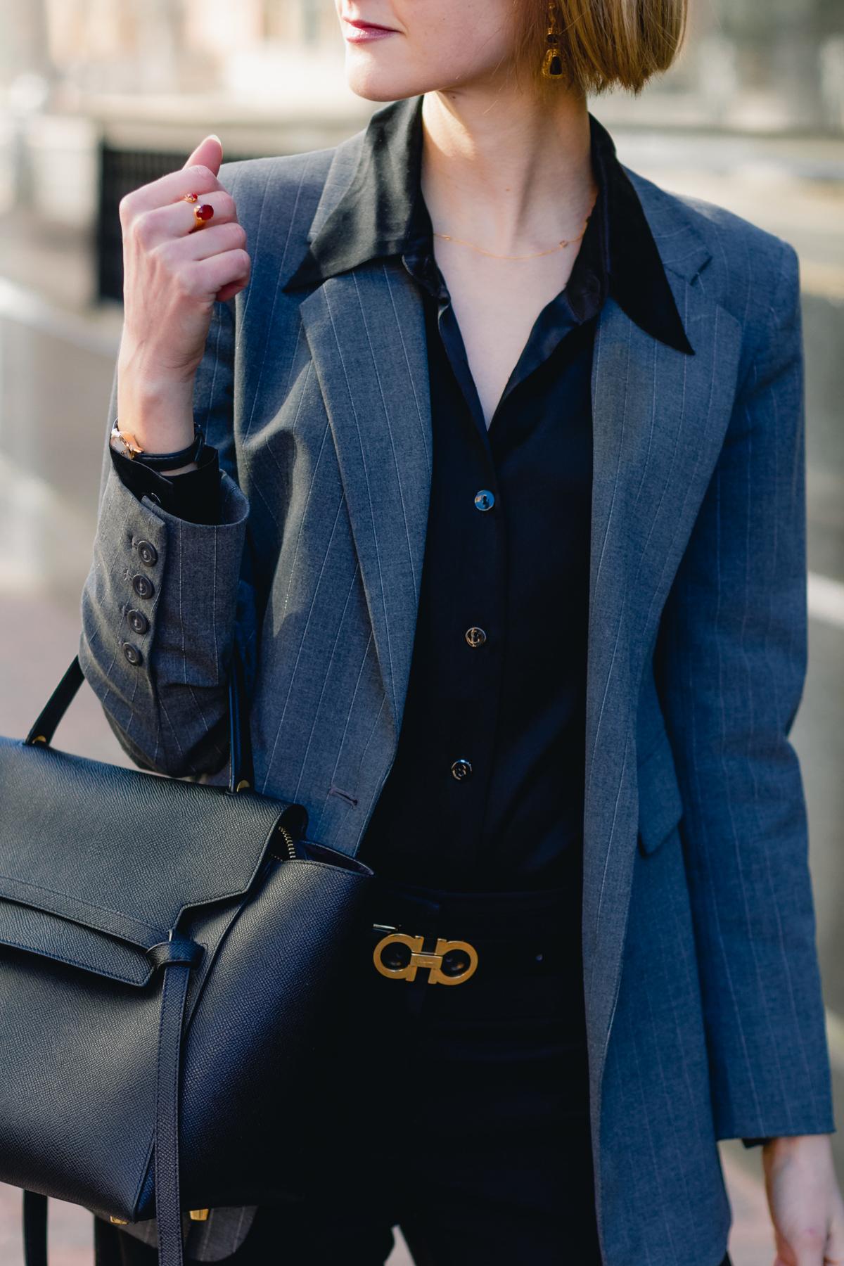 gray Express blazer, satin Equipment top, and Ferragamo belt