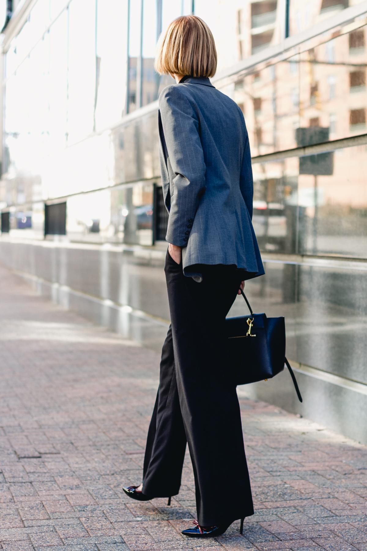 gray Express blazer, satin Equipment top, and wide-legged pants