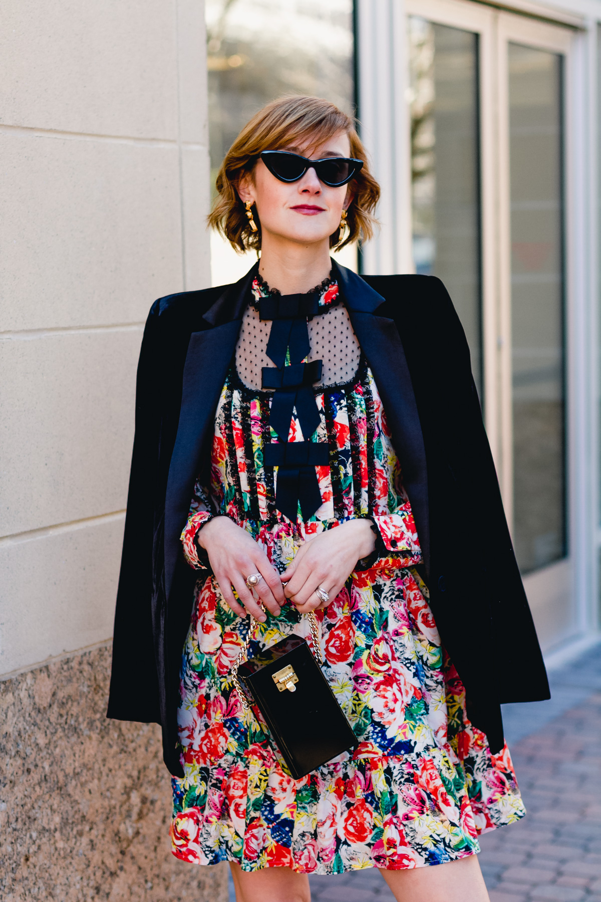 Le Specs sunglasses and Ganni dress