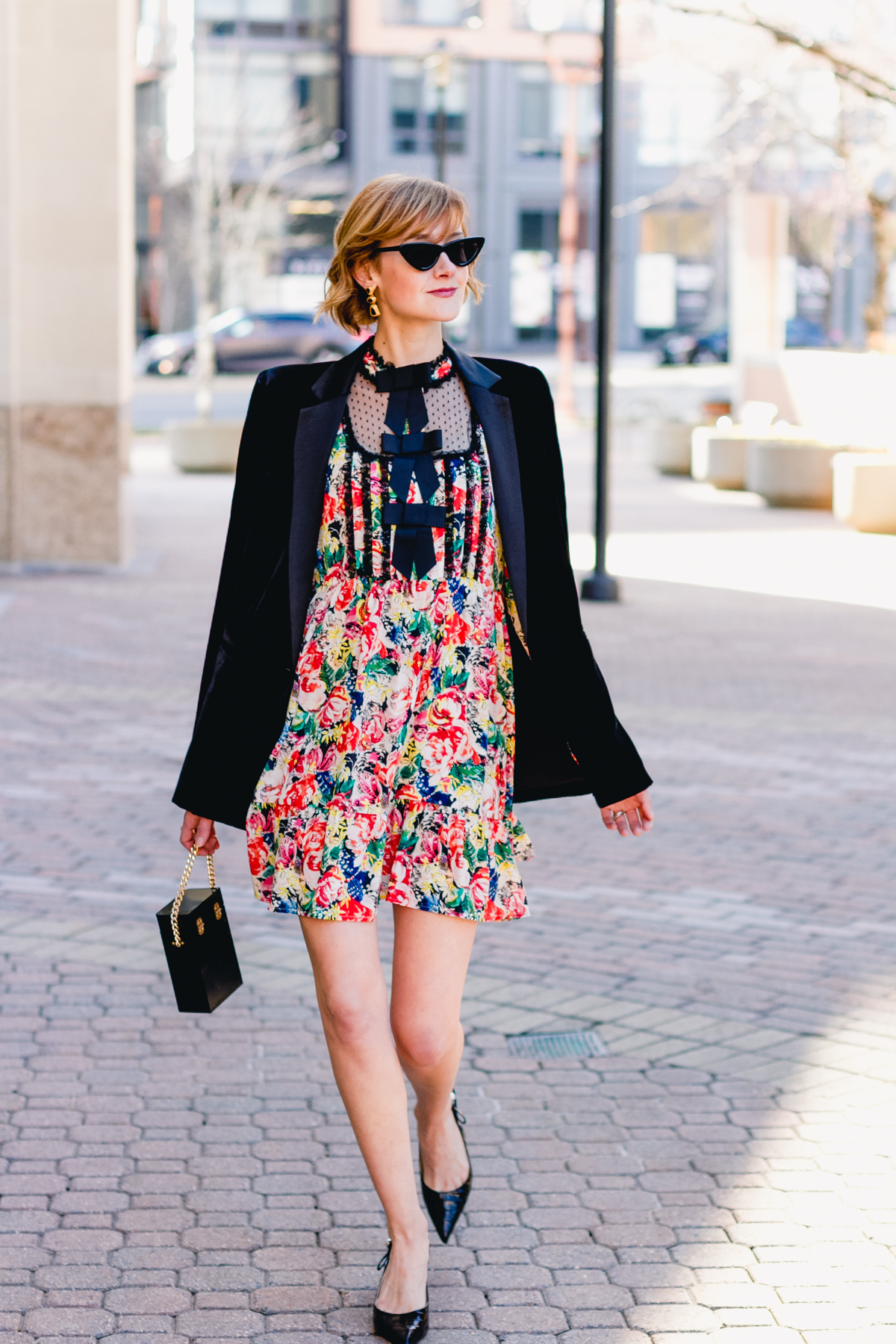 Ganni dress, Mango velvet blazer, and vintage bag