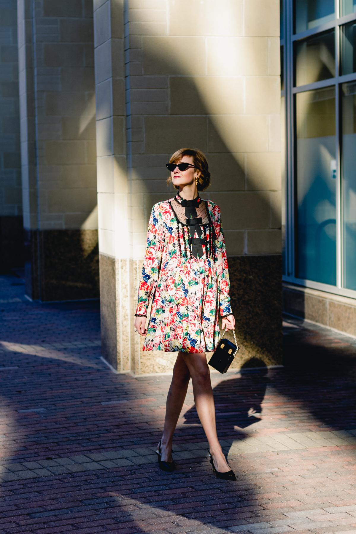 Ganni dress, Zara pumps, and vintage bag