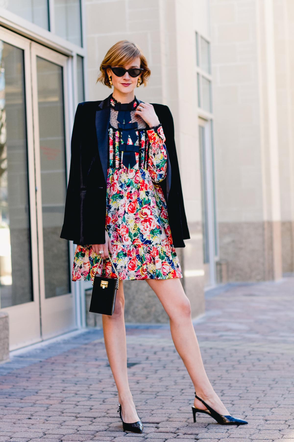 Ganni dress, Mango velvet blazer, and vintage bag