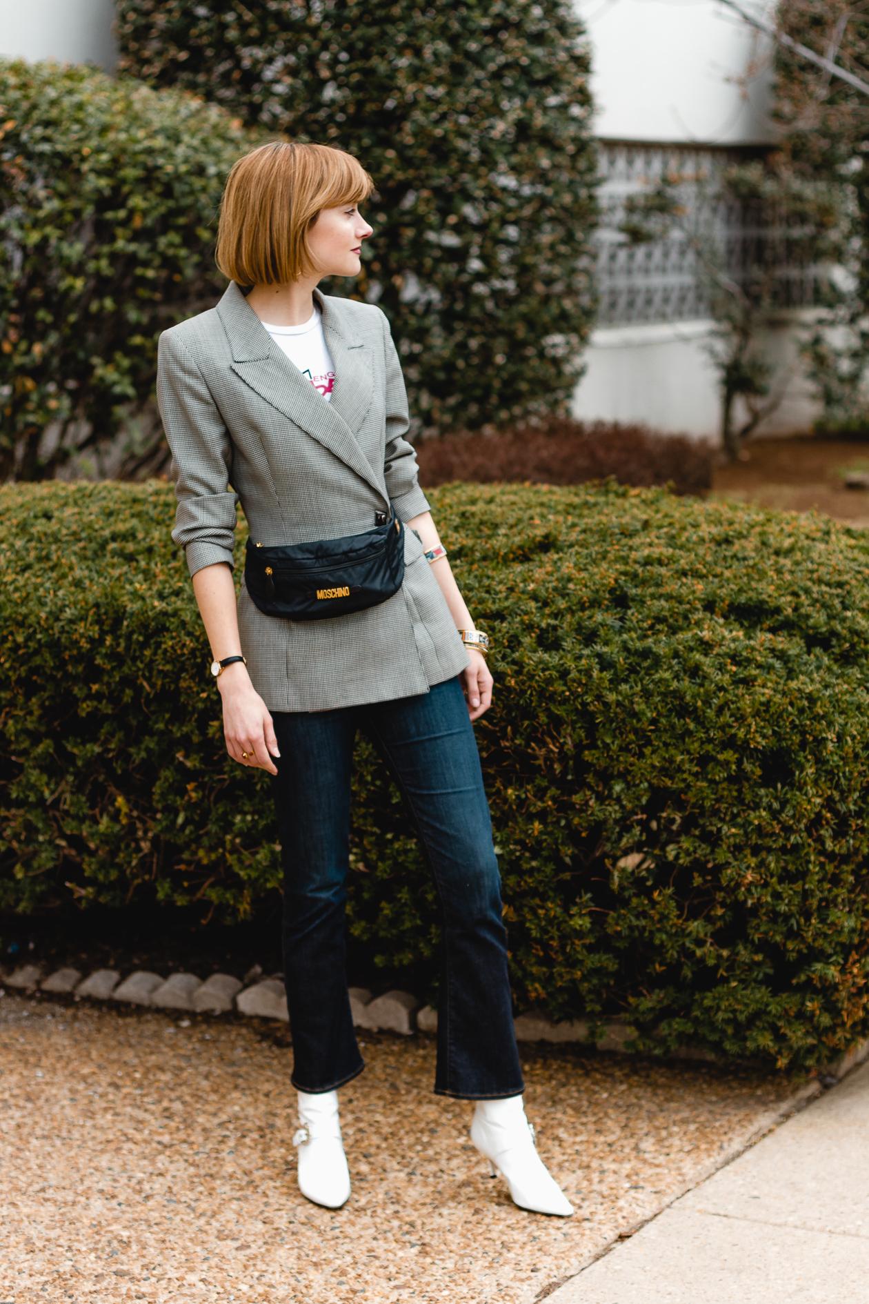 Moschino belt bag and Dorasteymur boots