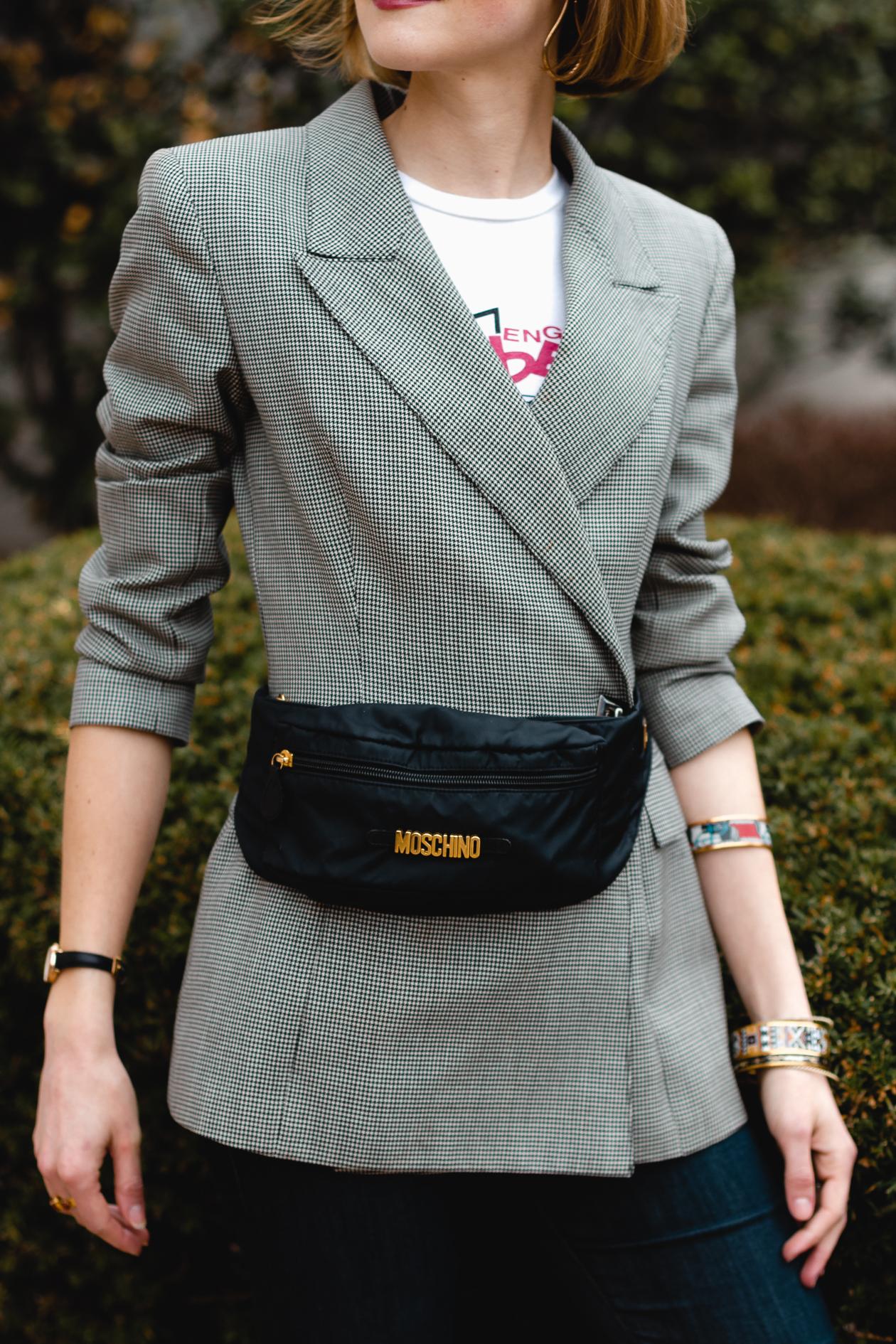 vintage blazer and Moschino belt bag