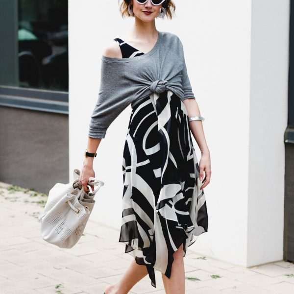 knotted sweatshirt over dress