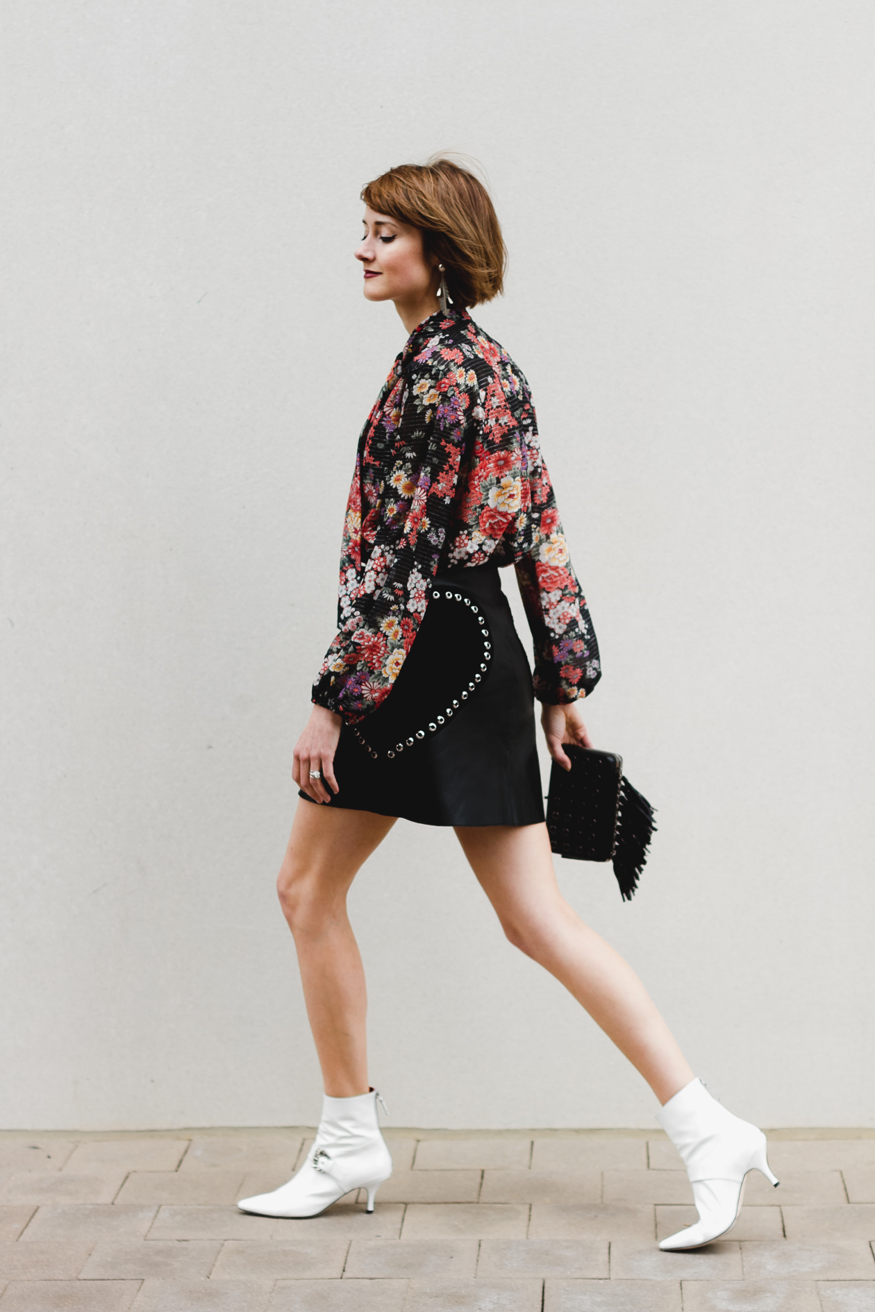 Maje leather skirt and Dorateymur ankle boots