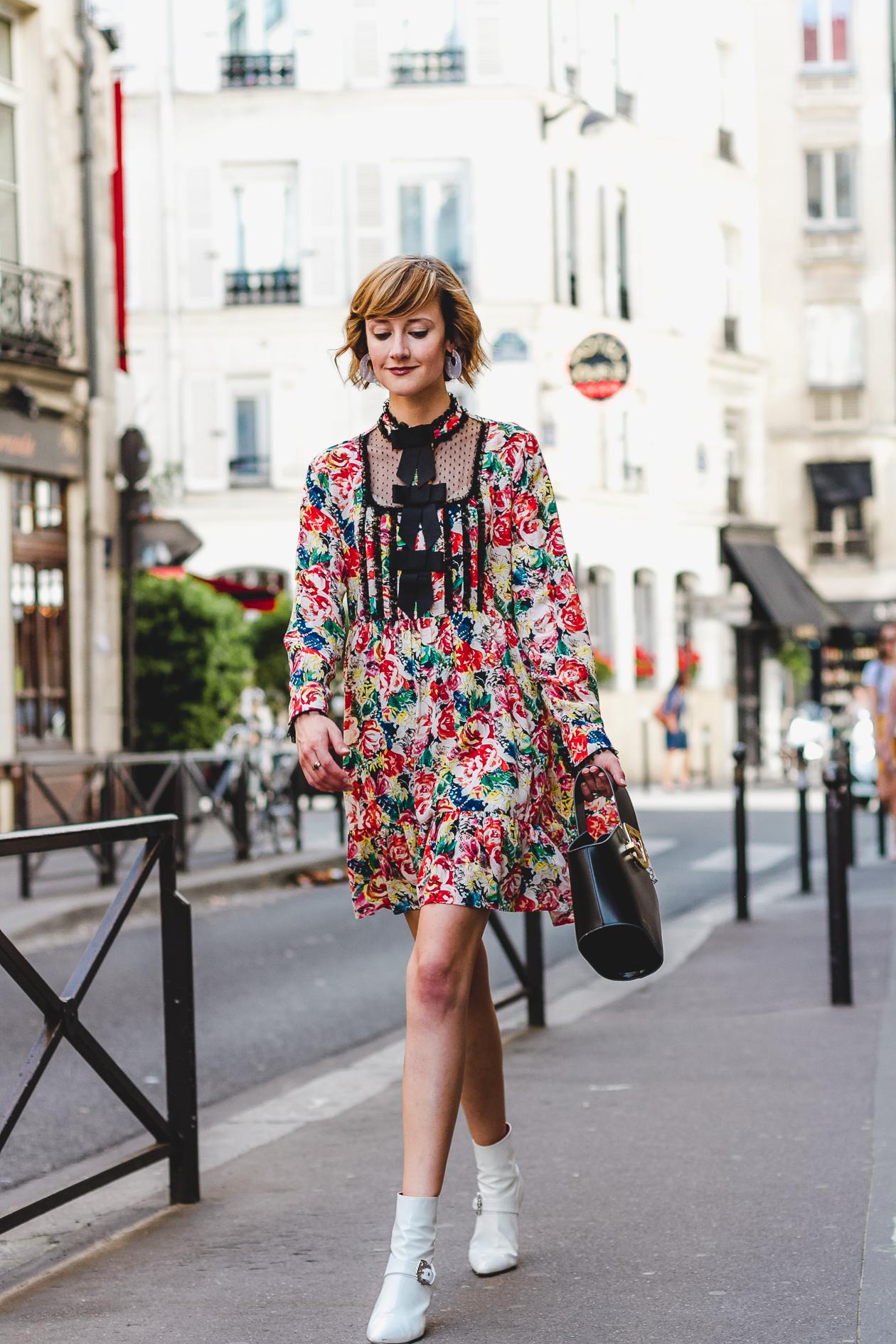 Ganni floral dress and Dorateymur boots