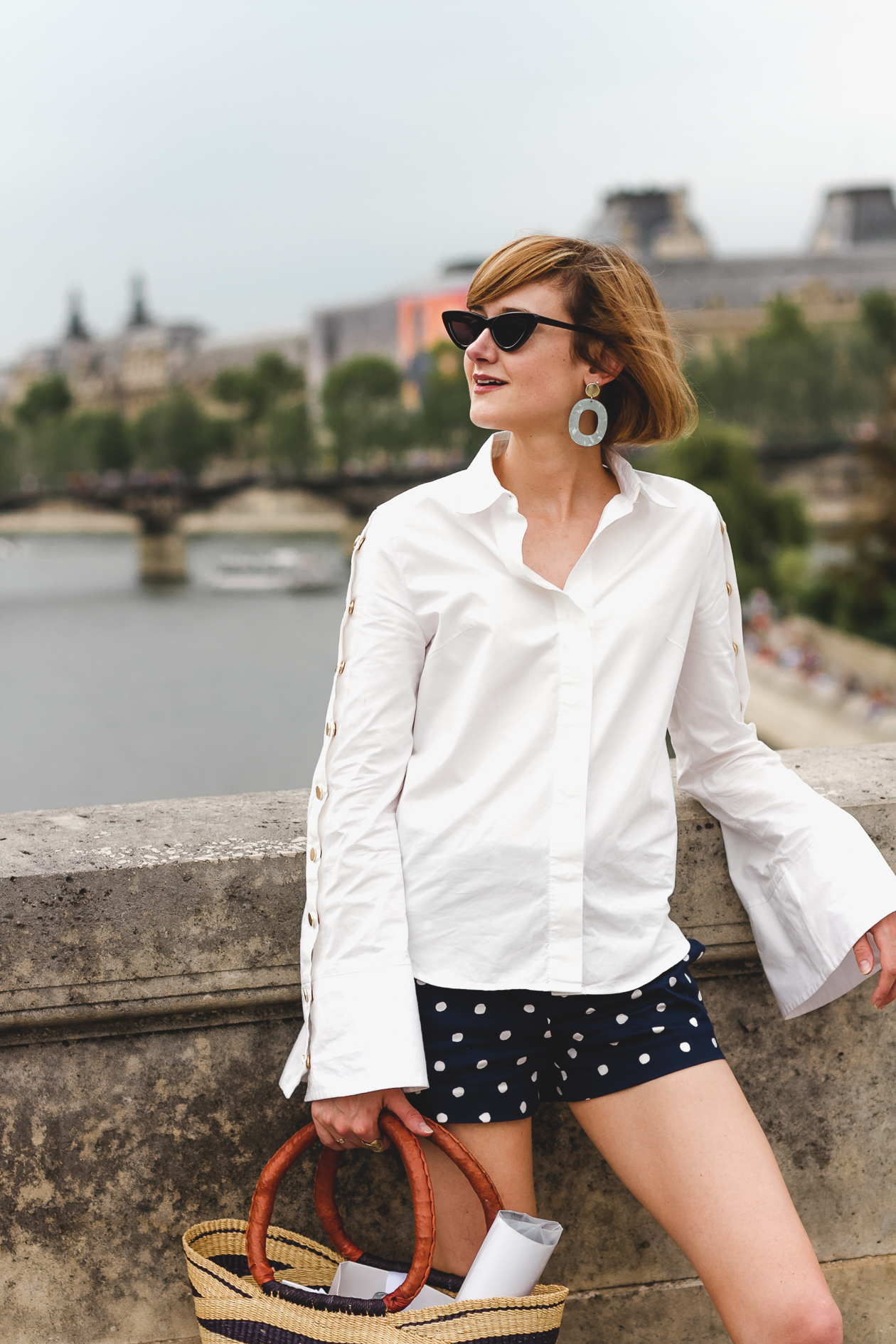 Pixie Market button-down and polka dot shorts
