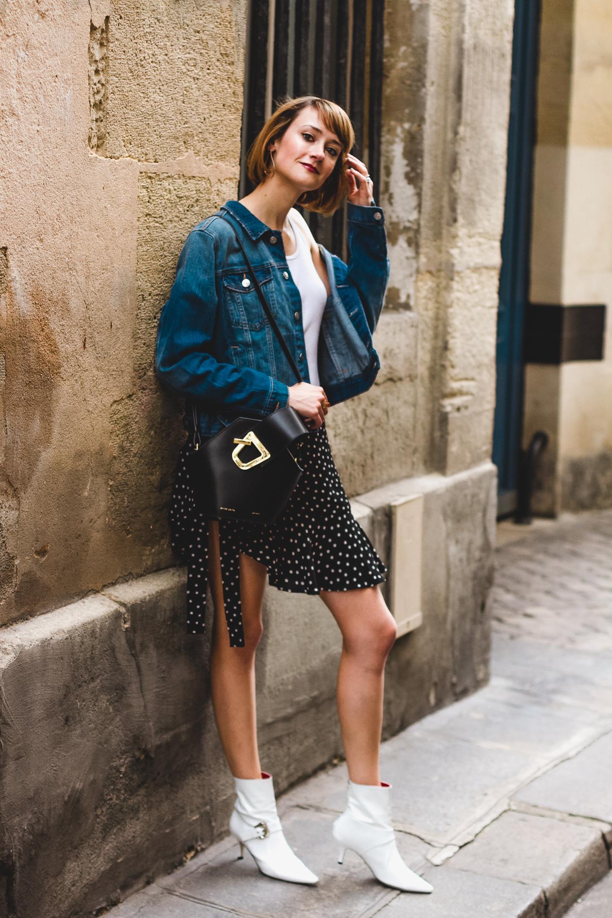 Danse Lente bag, polka dot skirt, and Dora Teymur boots