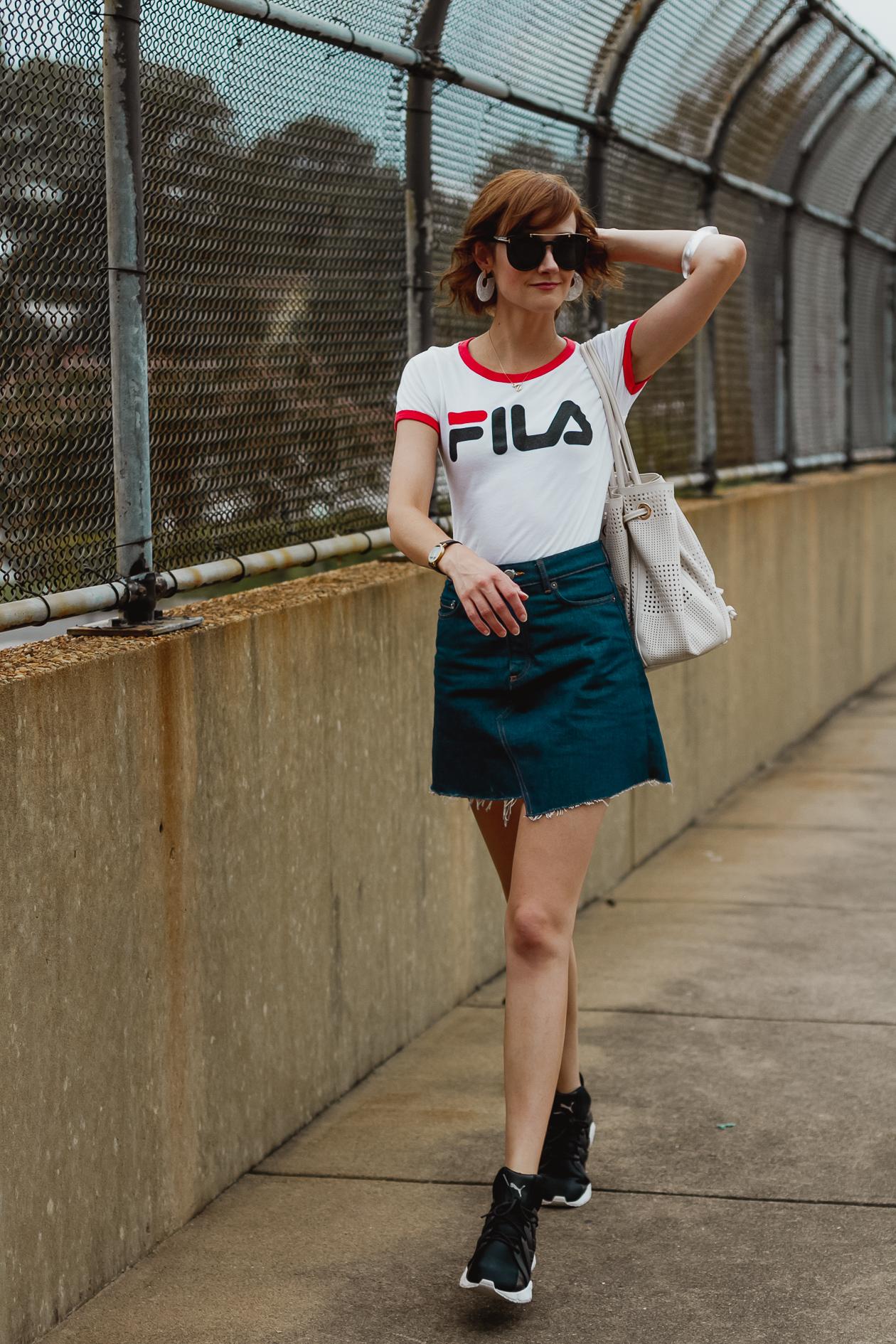 Fila t-shirt and & Other Stories denim skirt