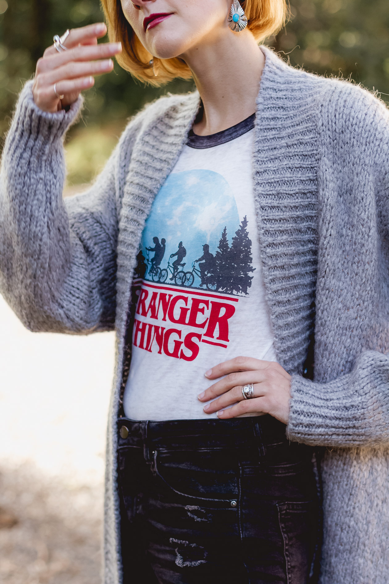 Stranger Things t-shirt and oversized cardigan
