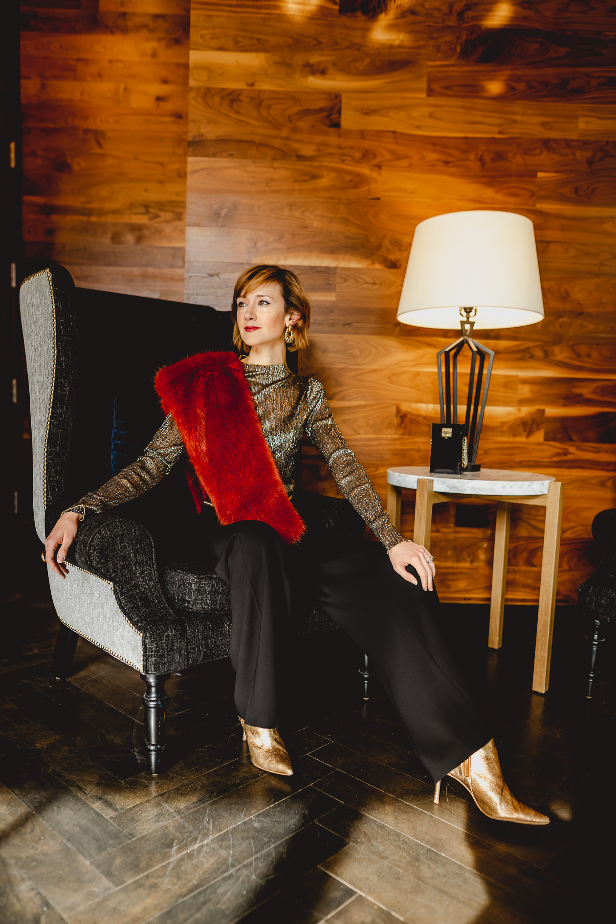 Anne Fontaine pants and faux fur stole