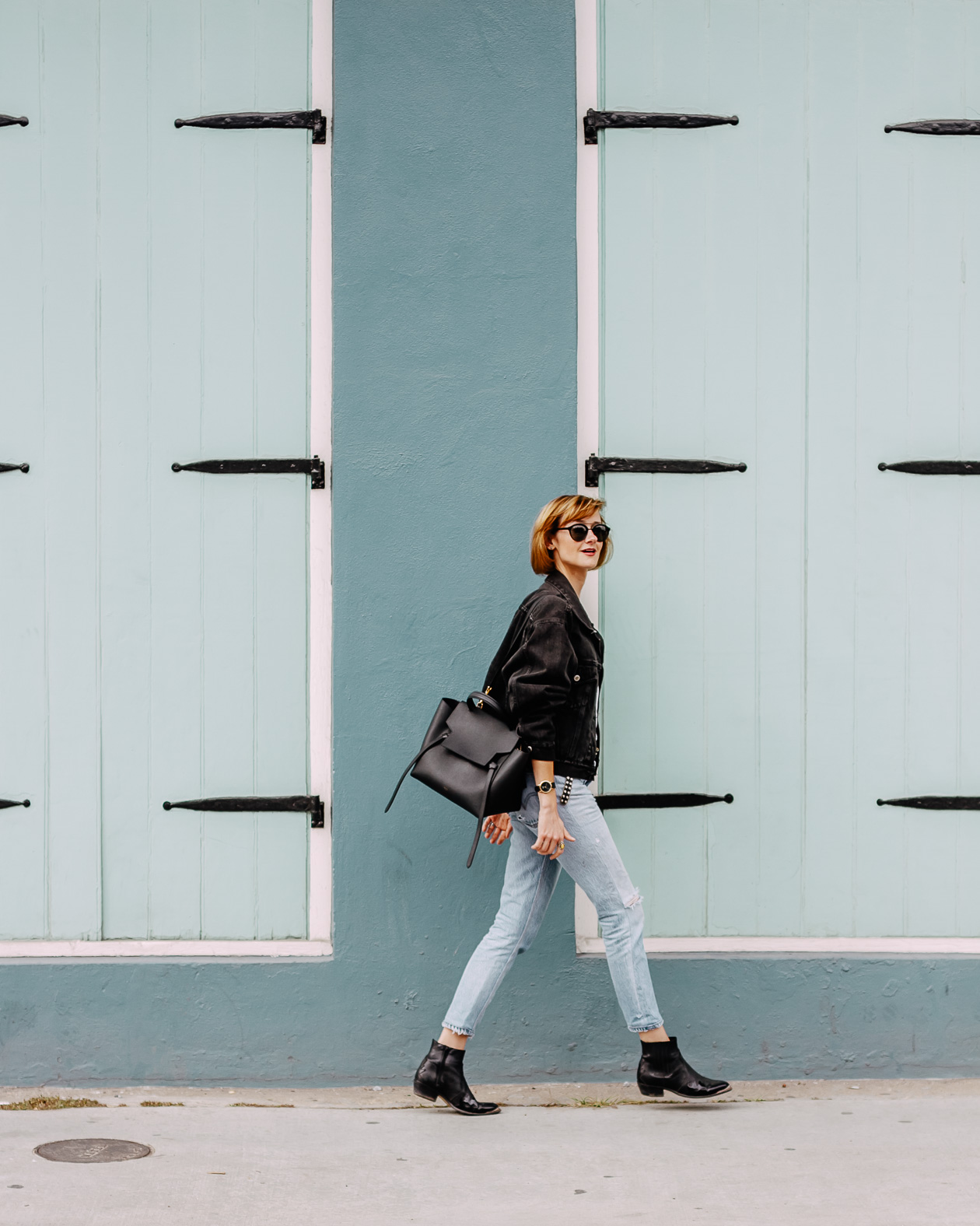 double denim outfit in the French Quarter