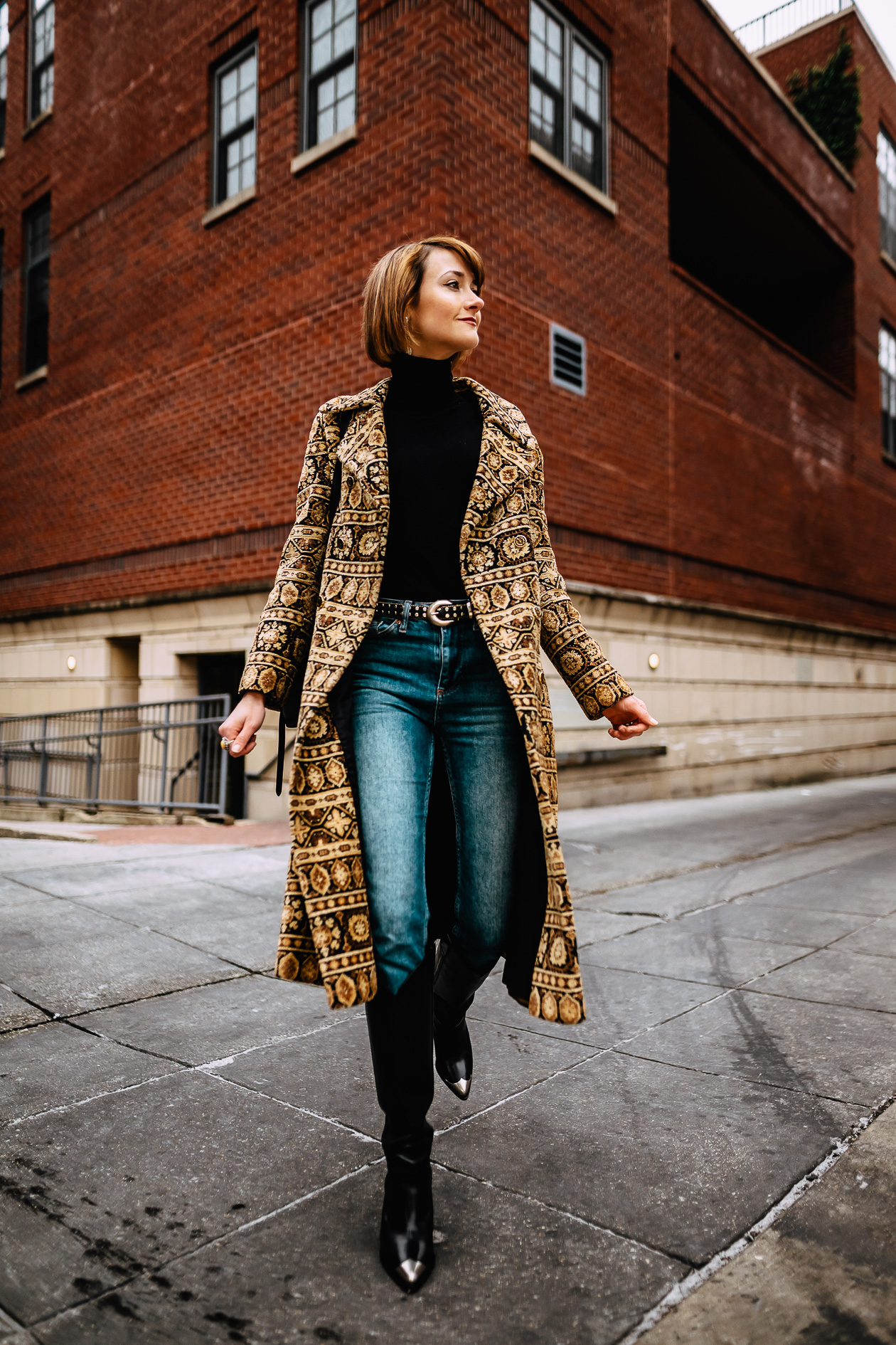 vintage tapestry coat and Isabel Marant boots