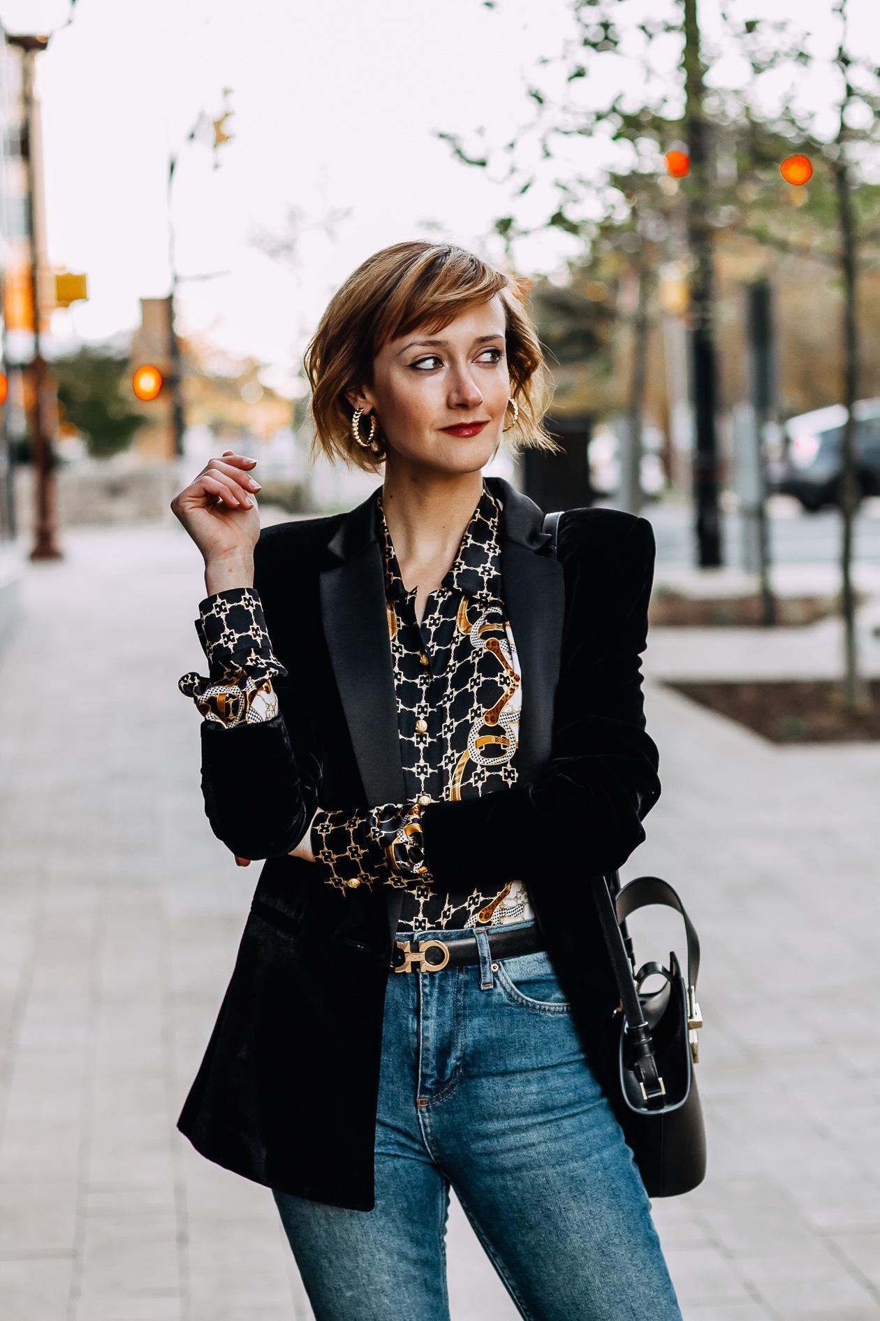 velvet blazer and vintage blouse