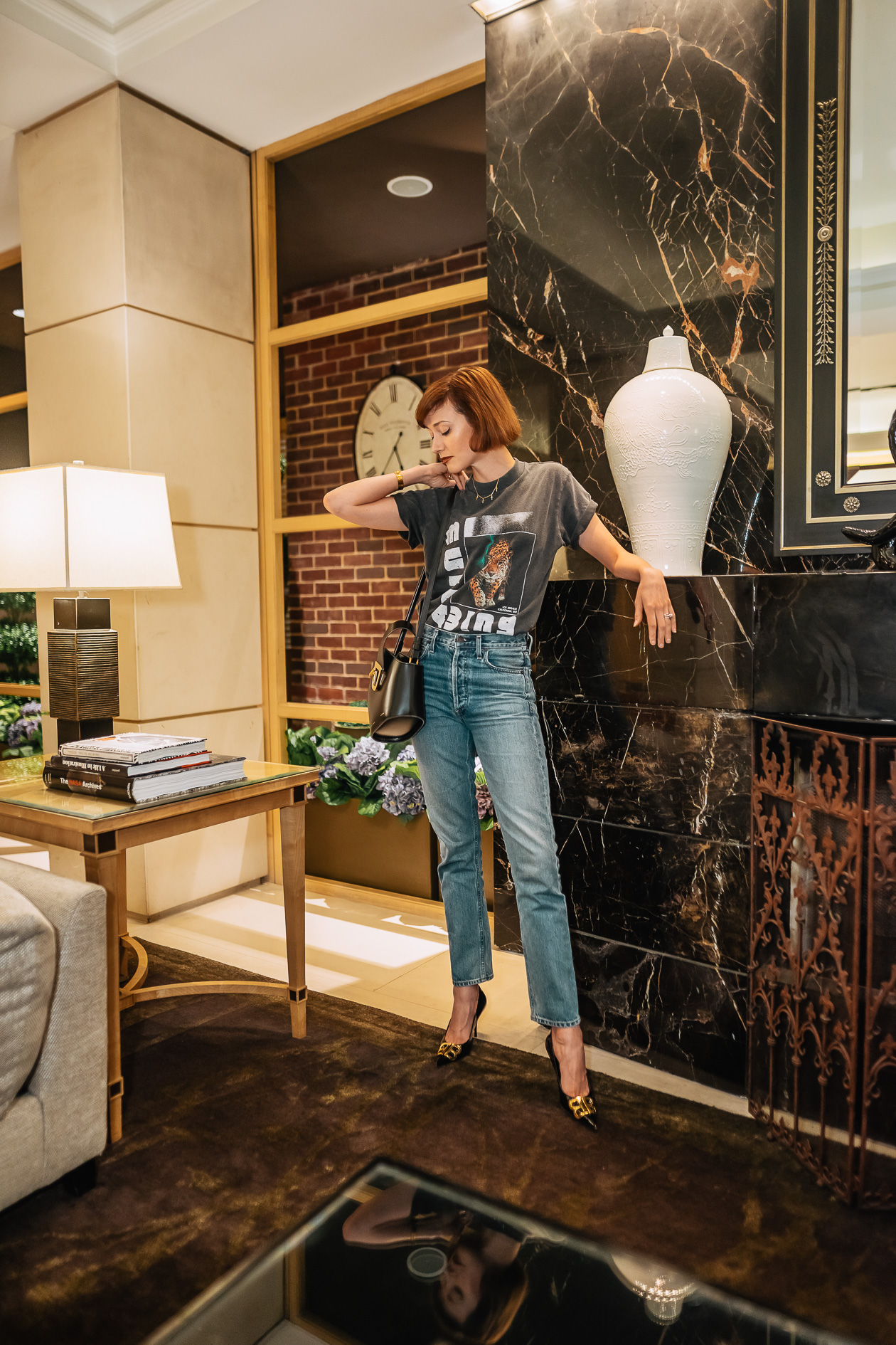 Anine Bing t-shirt and Citizens jeans