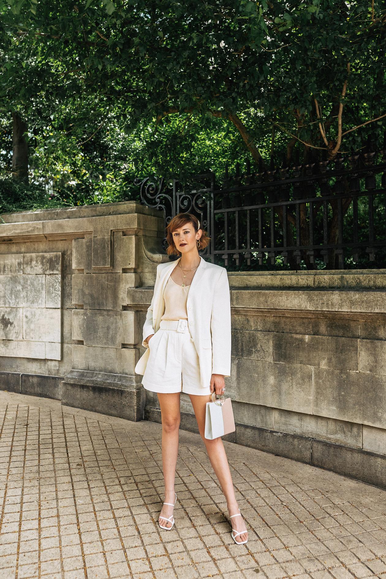 white linen short suit