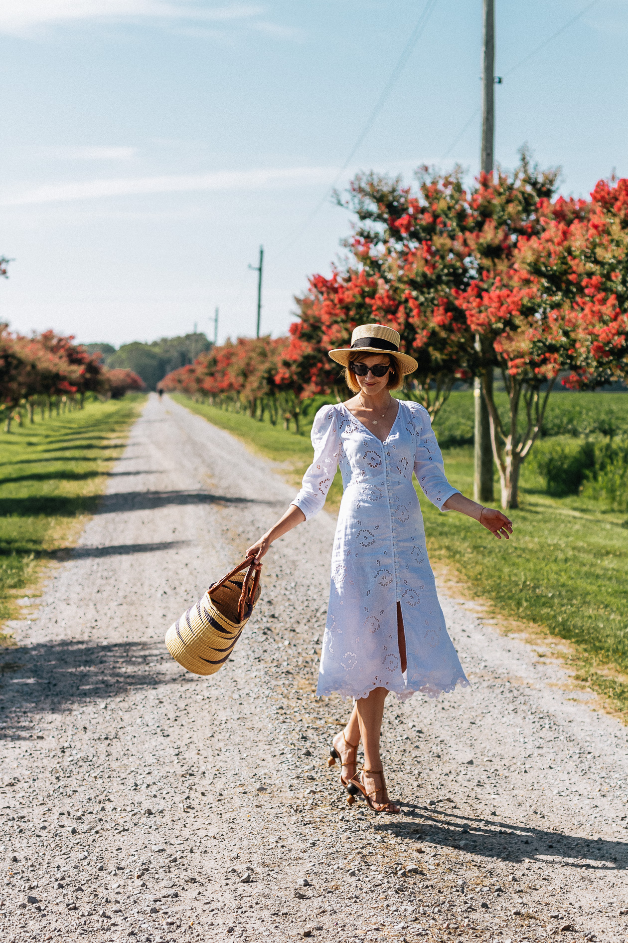 white eyelet dress & straw boater hat