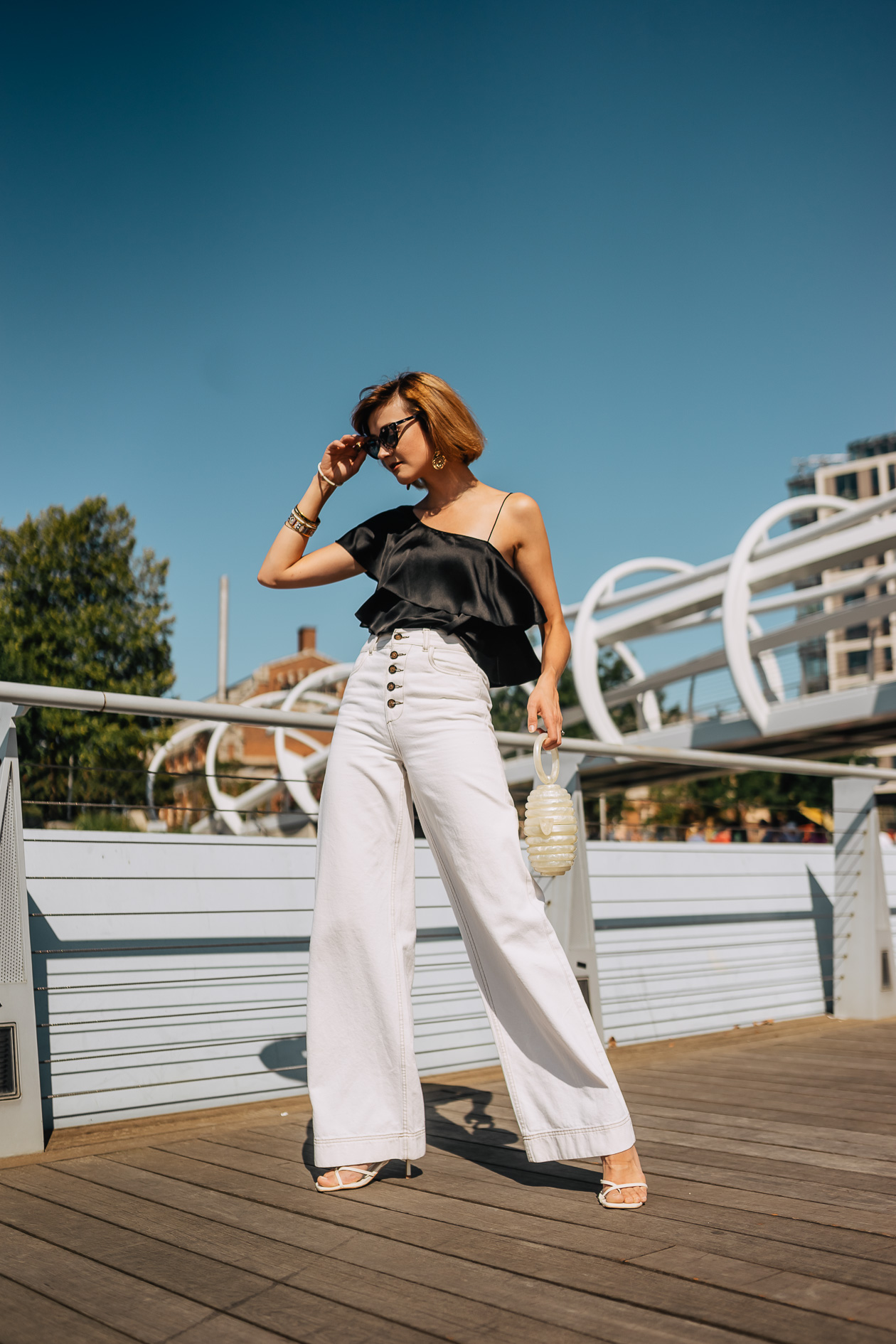 thrifted satin top & white wide-legged pants