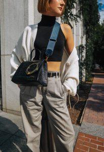 pleated pants & crop top