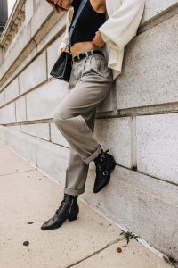 pleated pants & crop top