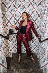 Rent the Runway holiday outfit metallic suit