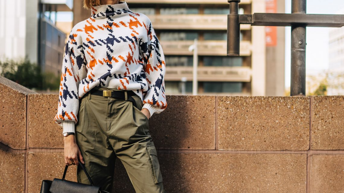 bright print sweater with cargo pants