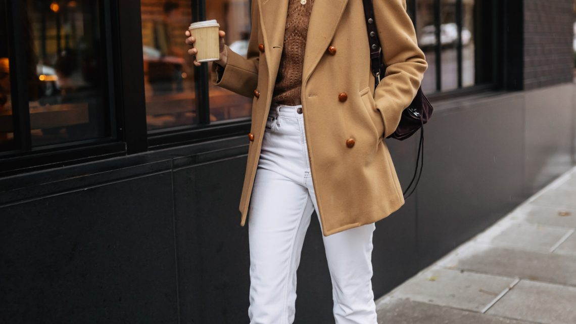 Camel coat and Sezane sweater