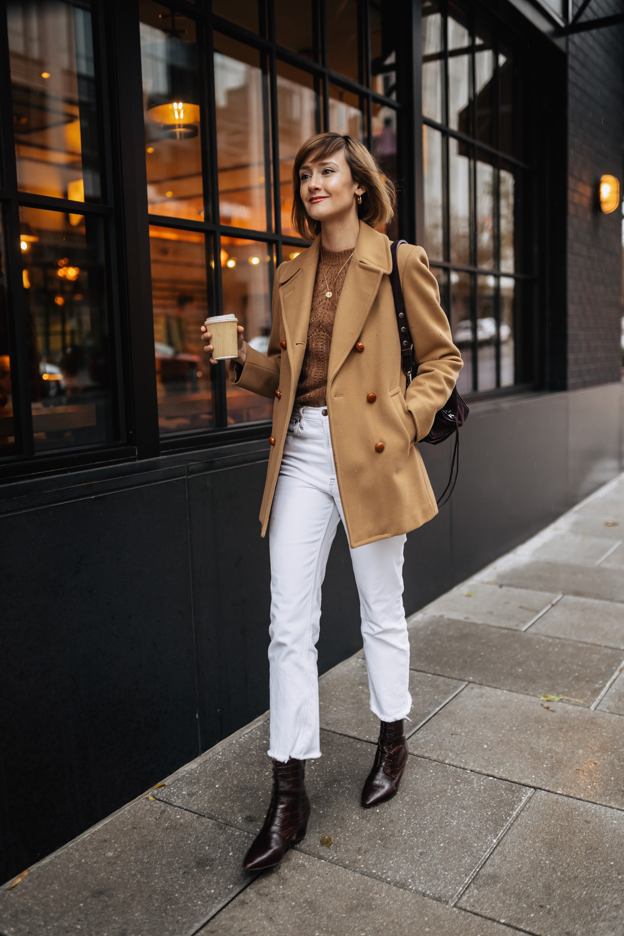 Camel coat and Sezane sweater