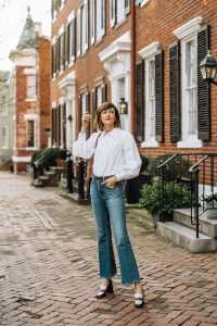 button down and jeans work from home outfit