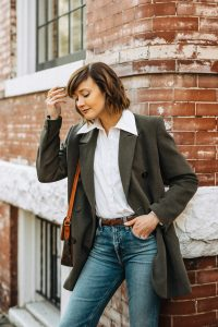 blazer and jeans work from home outfit