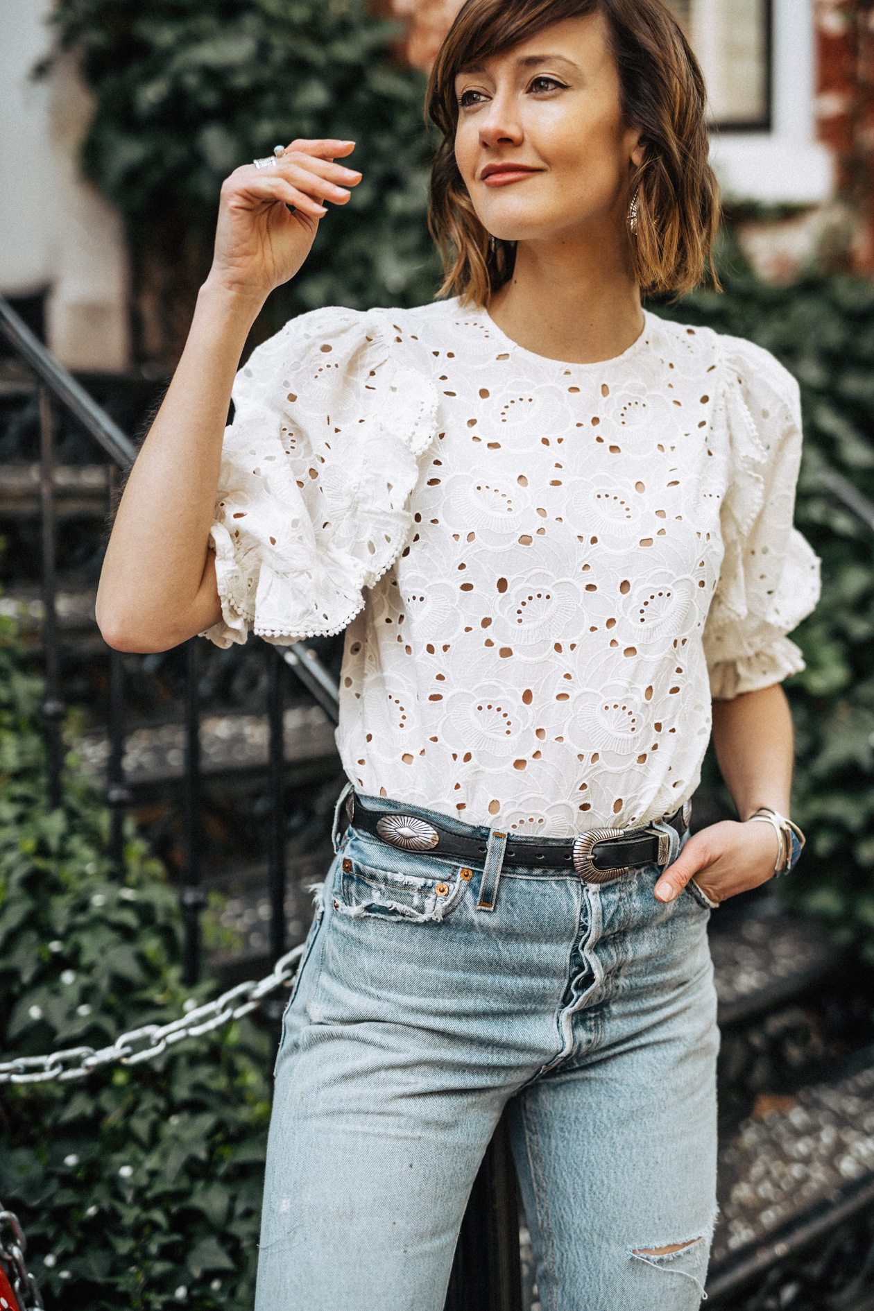 Sezane eyelet top and vintage jeans