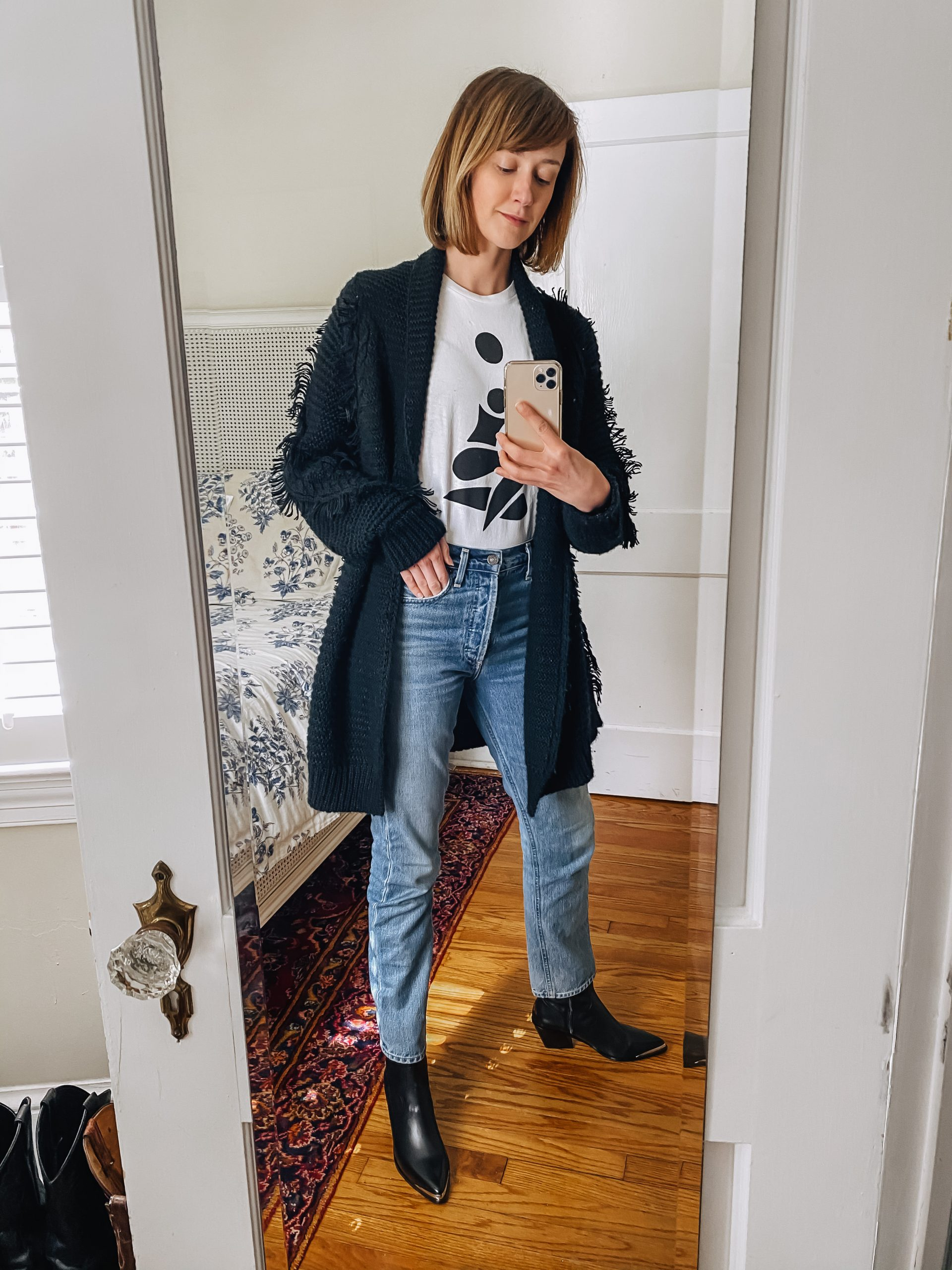 oversized cardigan and western boots outfit