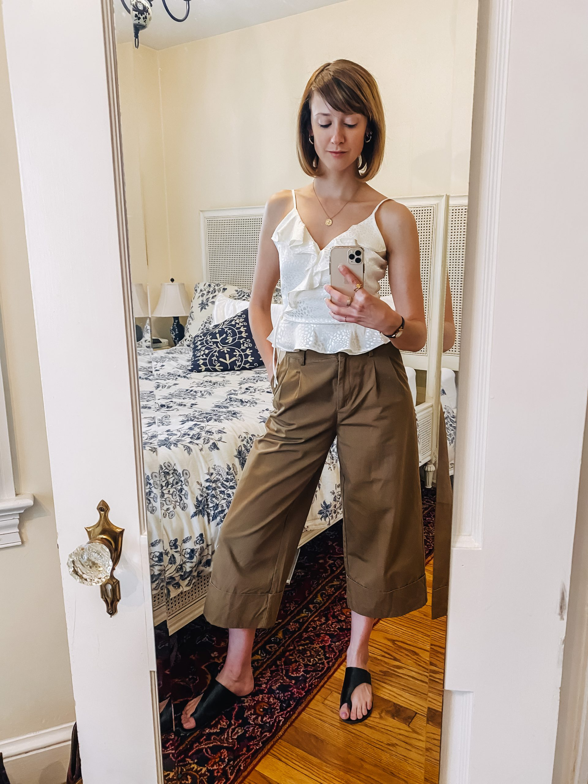 cropped pleated pants and frilly wrap top