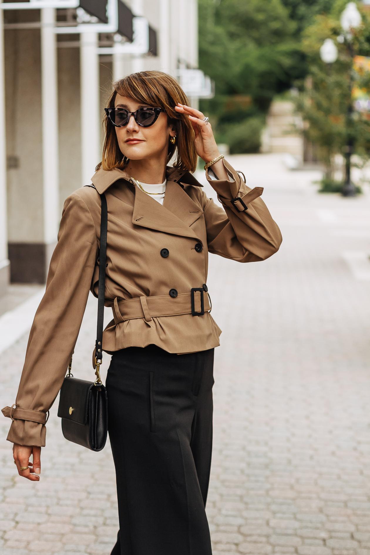 M.M; LaFleur trench coat & black pants